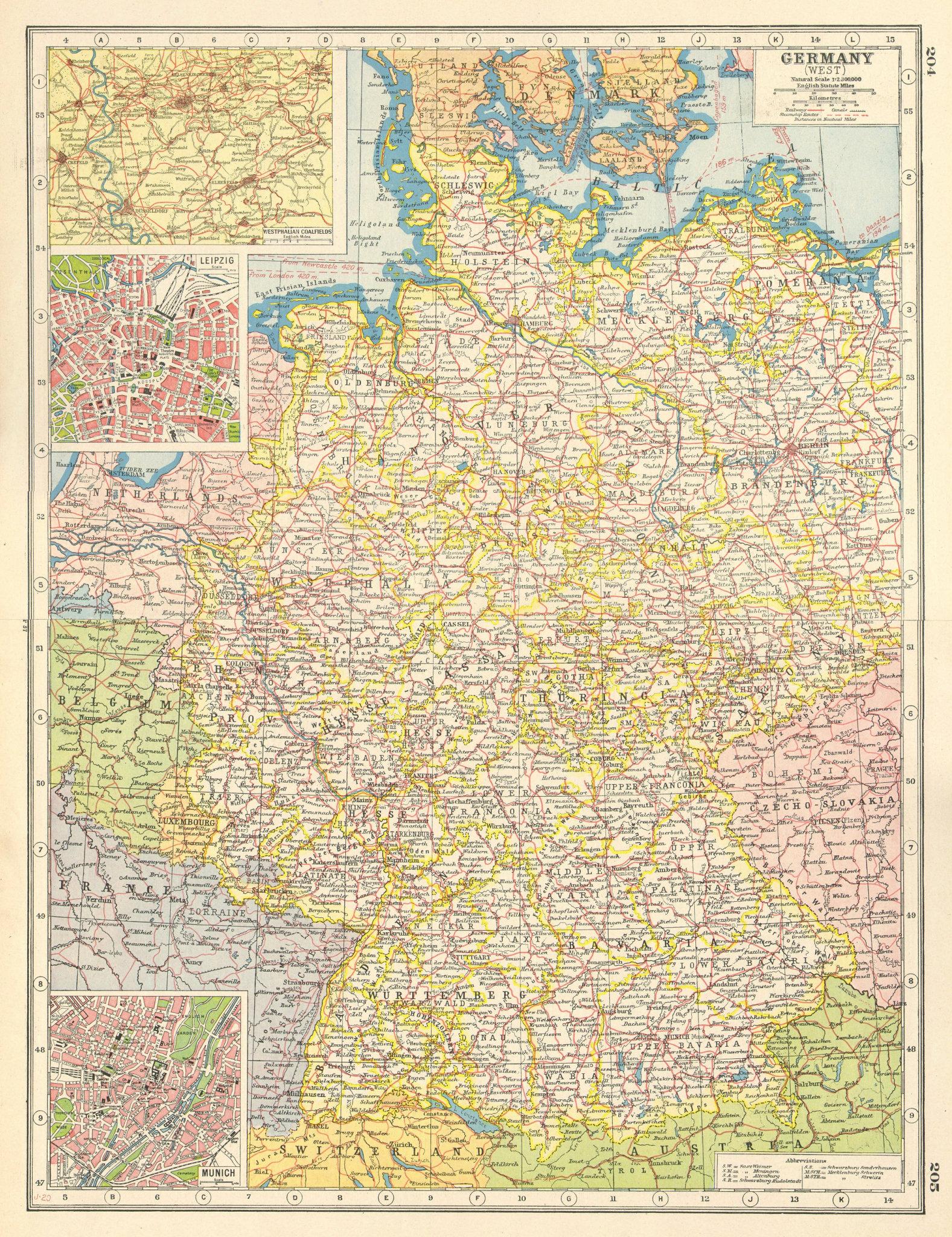 Associate Product WESTERN GERMANY.inset Westphalian Ruhr Coalfields Leipzig Munich plans 1920 map