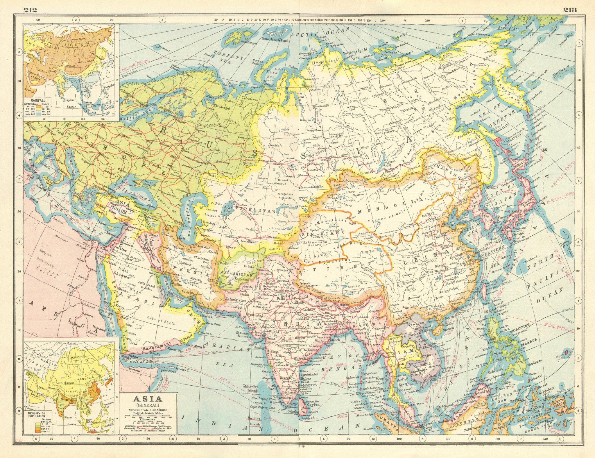 Associate Product ASIA. Mesopotamia Asir Hejaz El Hasa Persia Siam Chosen Fr. Indochina 1920 map