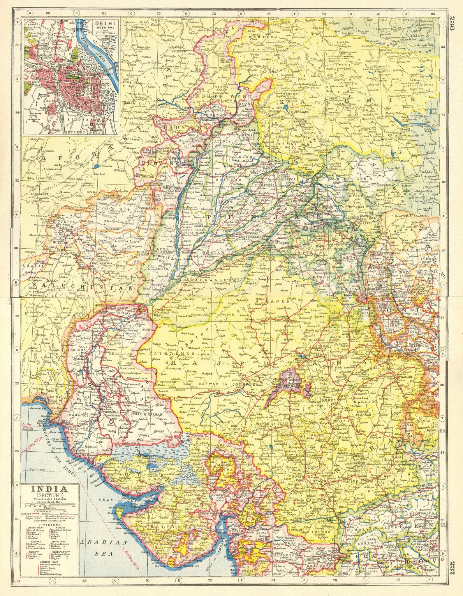 Associate Product BRITISH INDIA NW.Punjab Kashmir Rajputana Frontier.Delhi plan.Railways 1920 map
