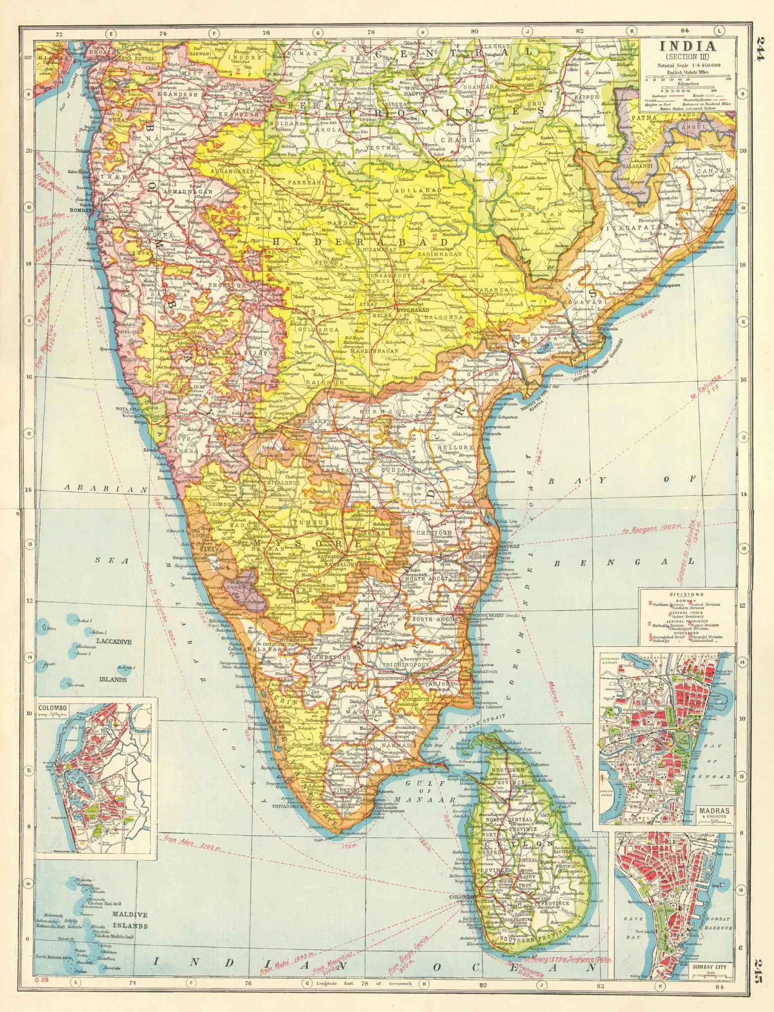 Associate Product BRITISH INDIA SOUTH/CEYLON.Mysore Hyderabad.Madras Bombay Colombo plan 1920 map