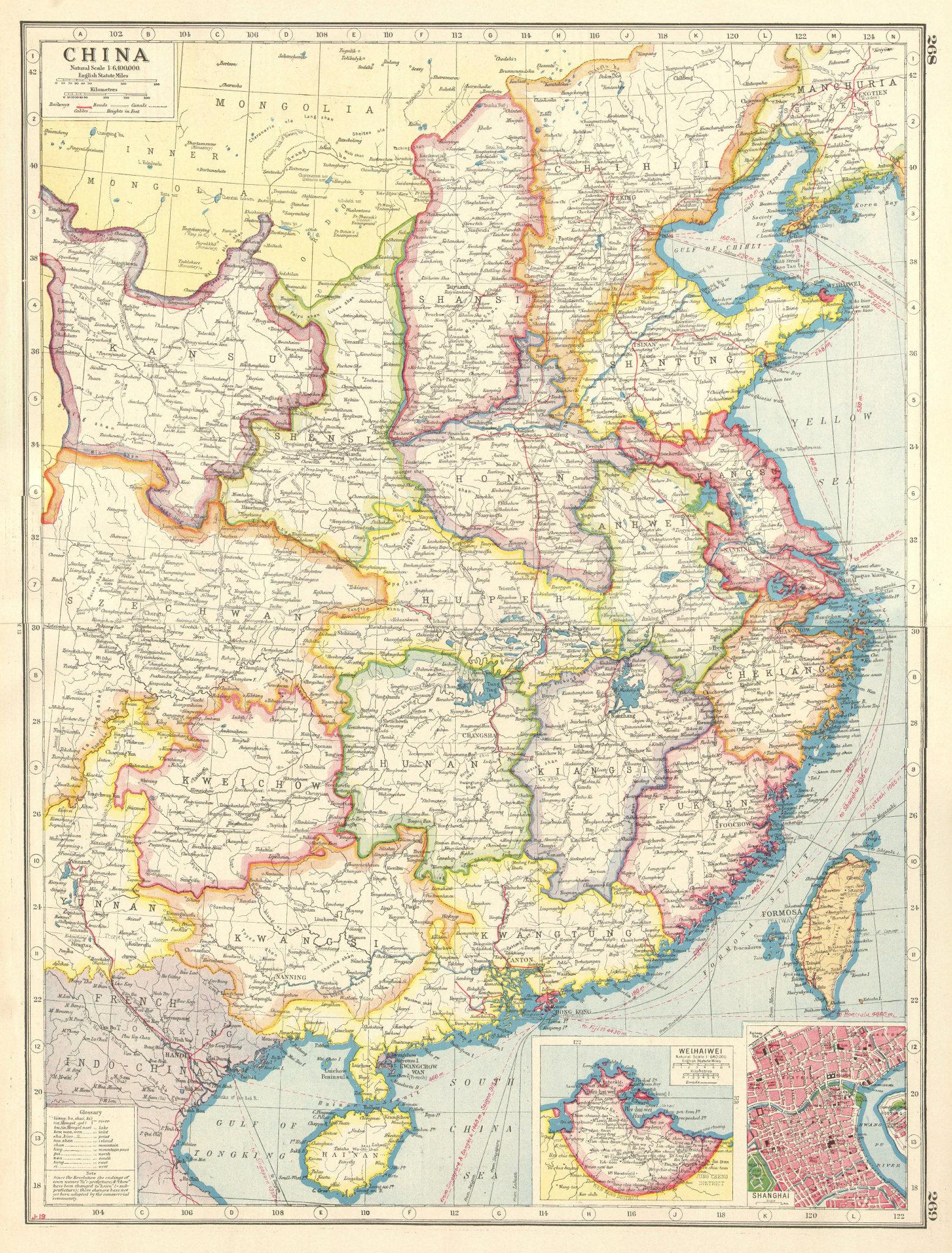 Associate Product CHINA. Provinces railways.Inset Weihaiwei.Shanghai plan.Formosa Taiwan 1920 map