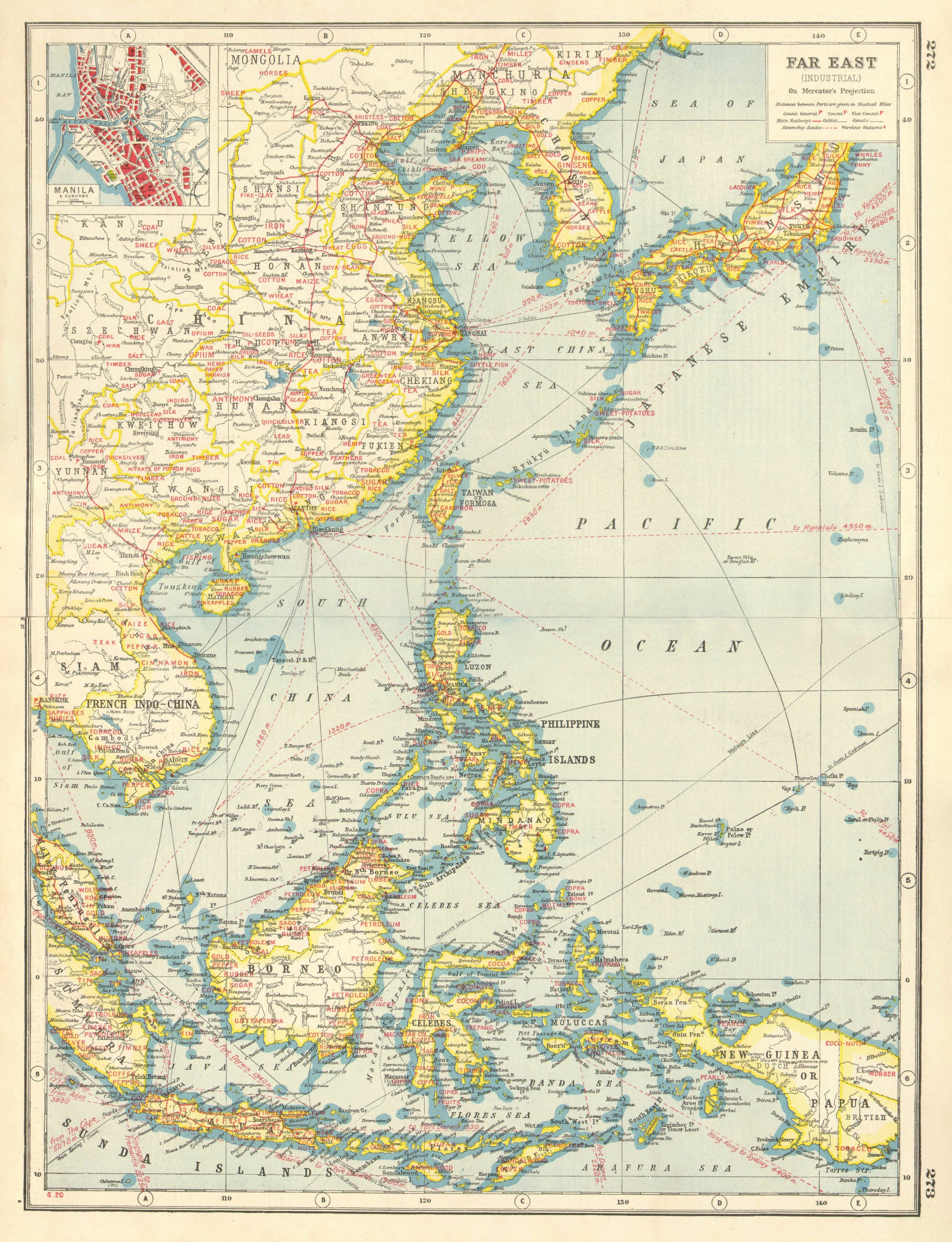 Associate Product EAST ASIA INDUSTRIES. China Korea East Indies Philippines. Manila plan 1920 map