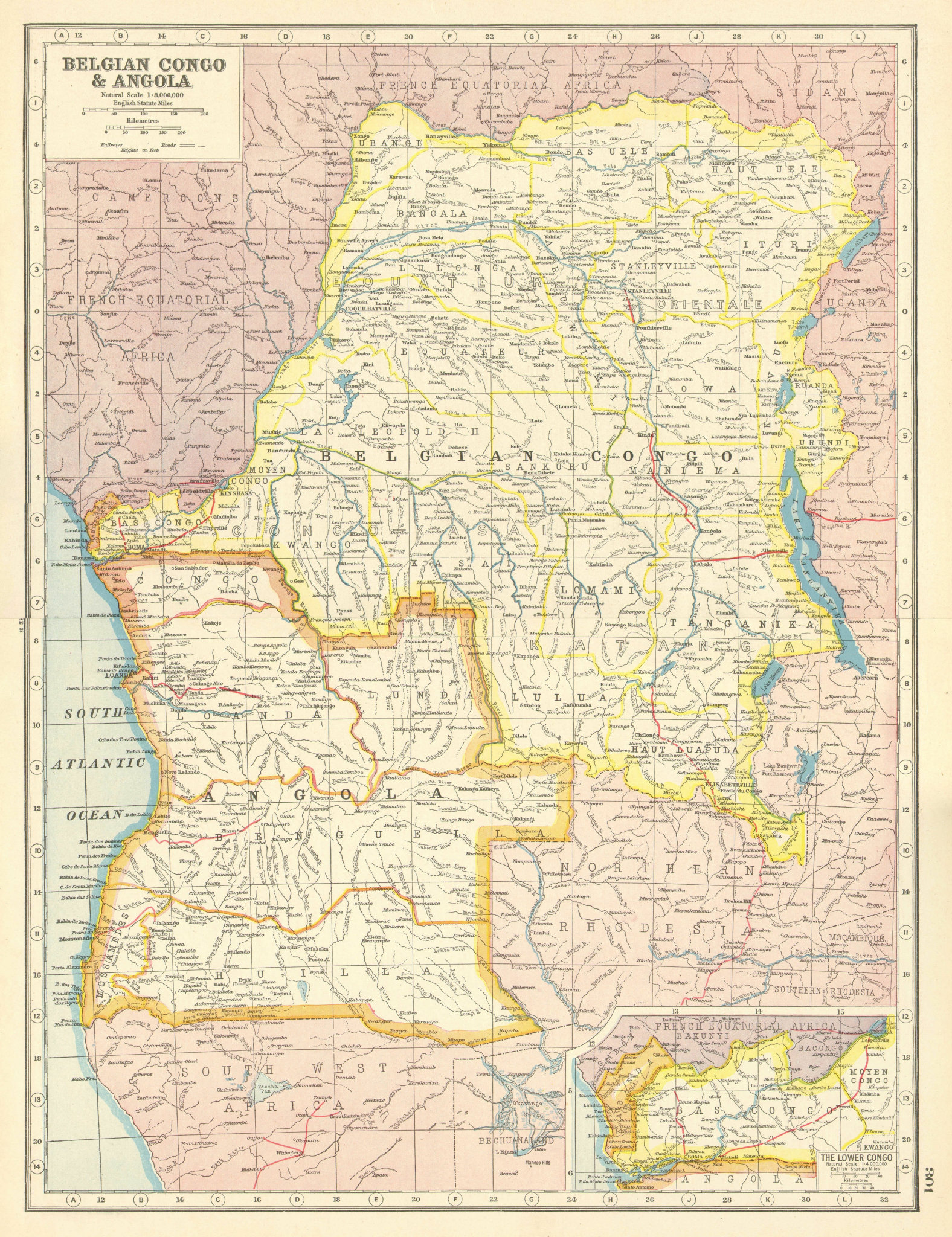 Associate Product BELGIAN CONGO/ANGOLA. South West Africa Railways Provinces. HARMSWORTH 1920 map