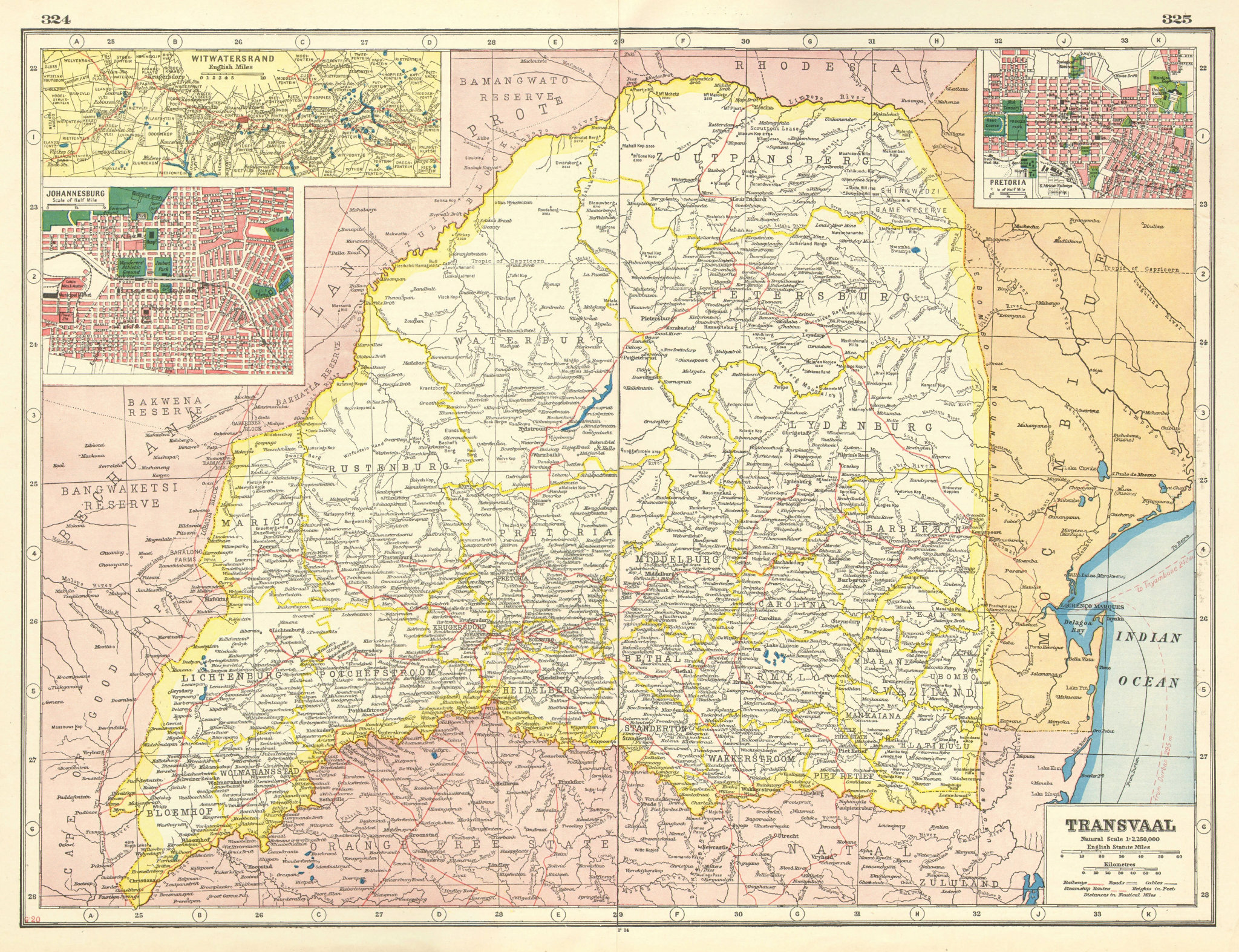 Associate Product TRANSVAAL. South Africa. Inset Witwatersrand, Johannesburg & Pretoria  1920 map
