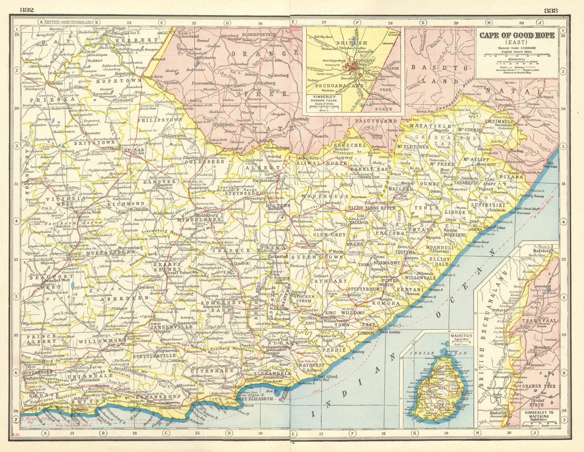 Associate Product EASTERN CAPE. Inset Kimberley Diamond fields. Mauritius. South Africa 1920 map