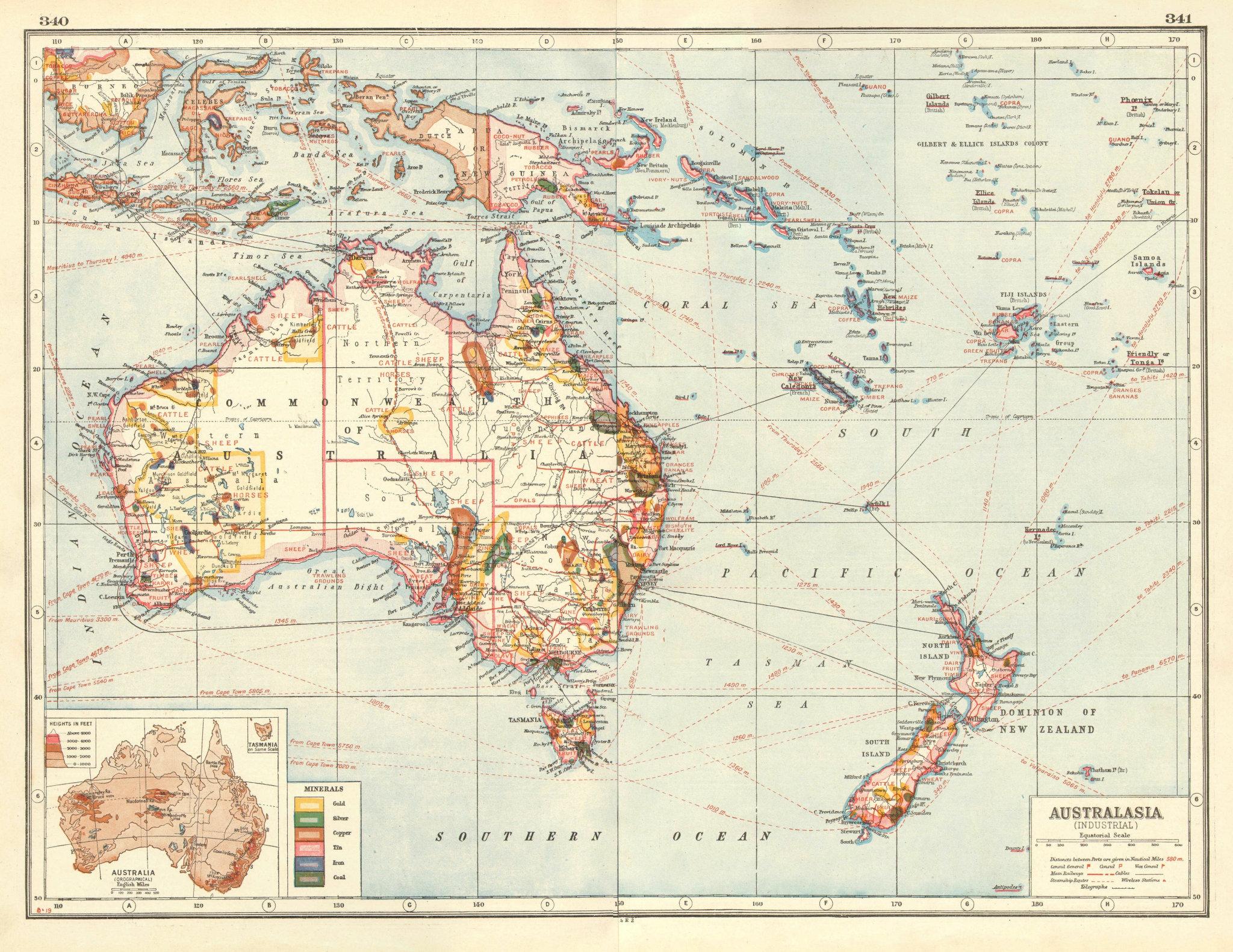 Associate Product AUSTRALASIA INDUSTRIES. Australia New Zealand E Indies.Metals Minerals 1920 map