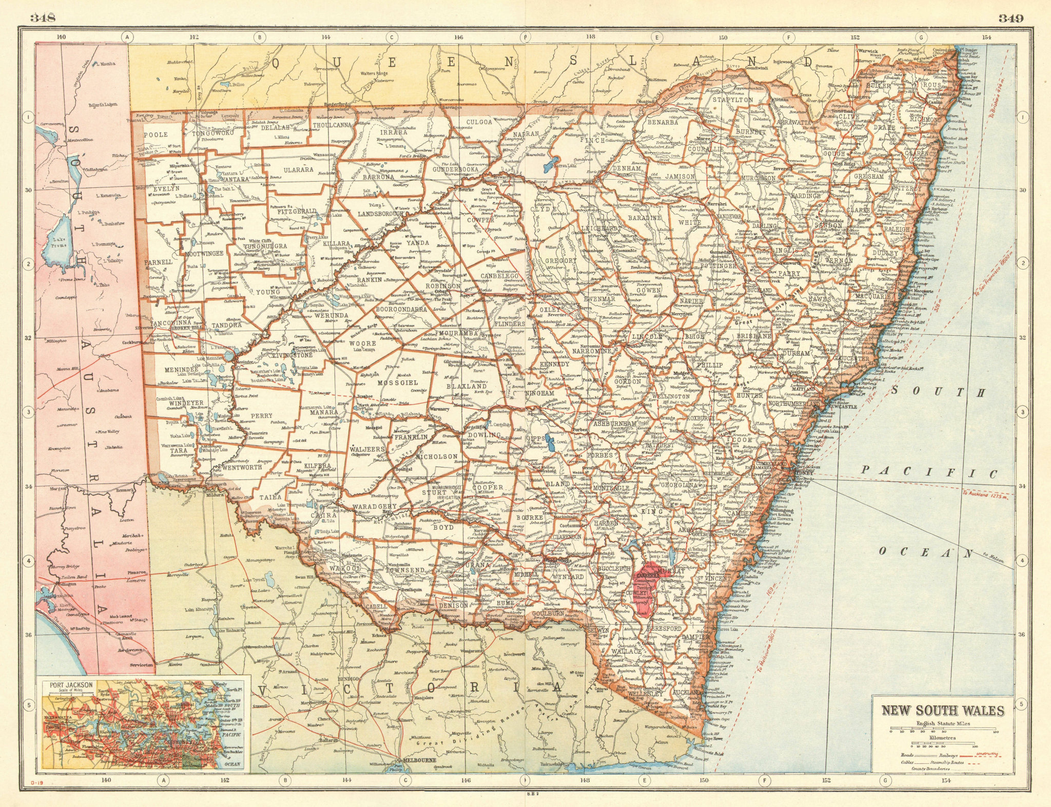 Associate Product NEW SOUTH WALES. Counties Railways. Sydney plan.Commonwealth Territory 1920 map