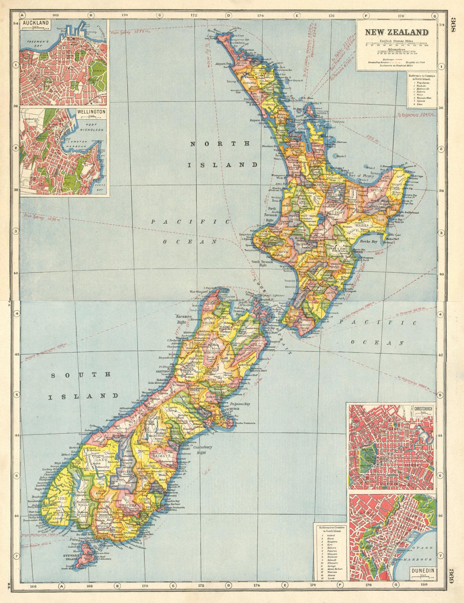 Associate Product NEW ZEALAND. Counties. Auckland Wellington Christchurch Dunedin plans 1920 map