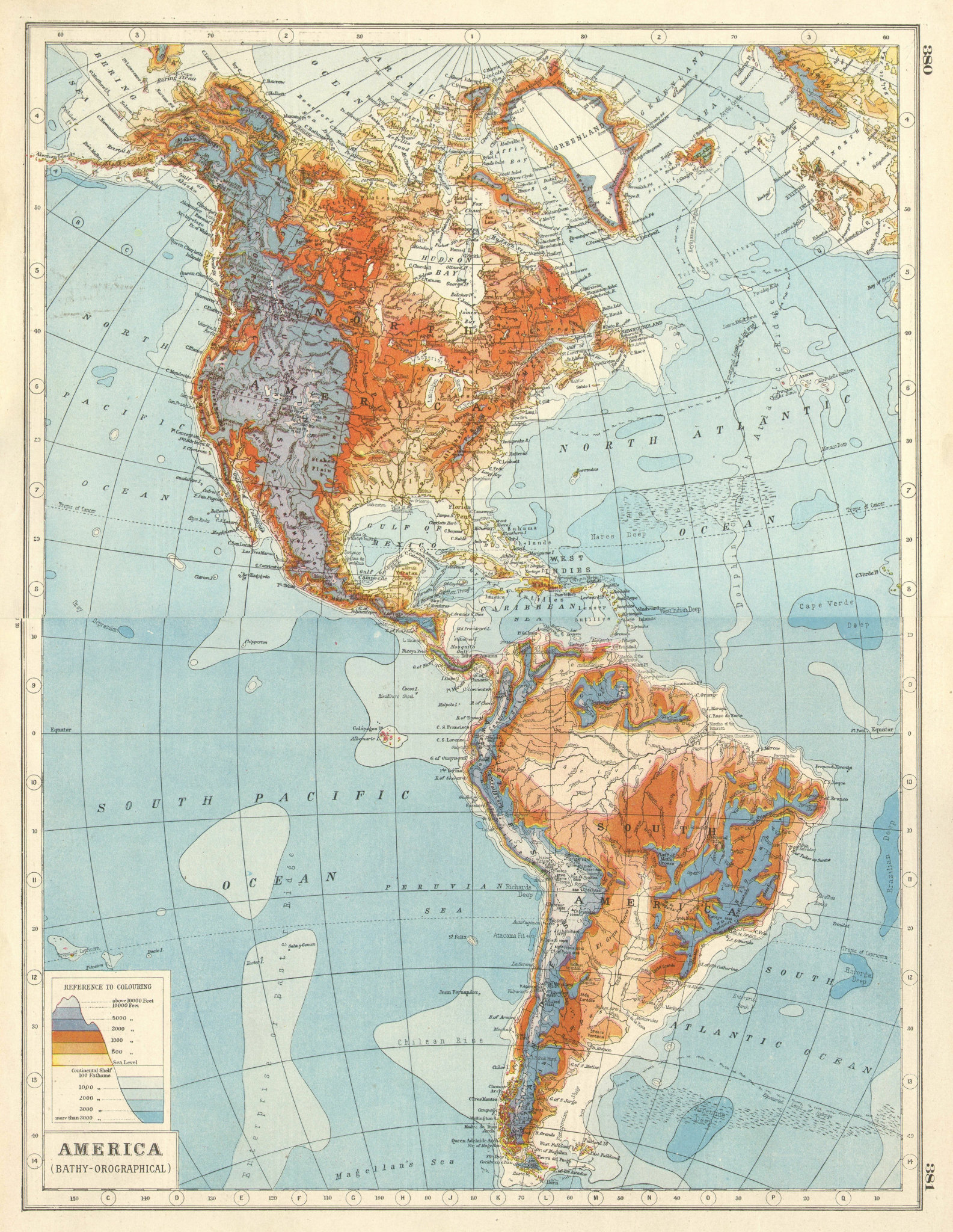Associate Product AMERICAS RELIEF. Bathy-Orographical. North South America. HARMSWORTH 1920 map