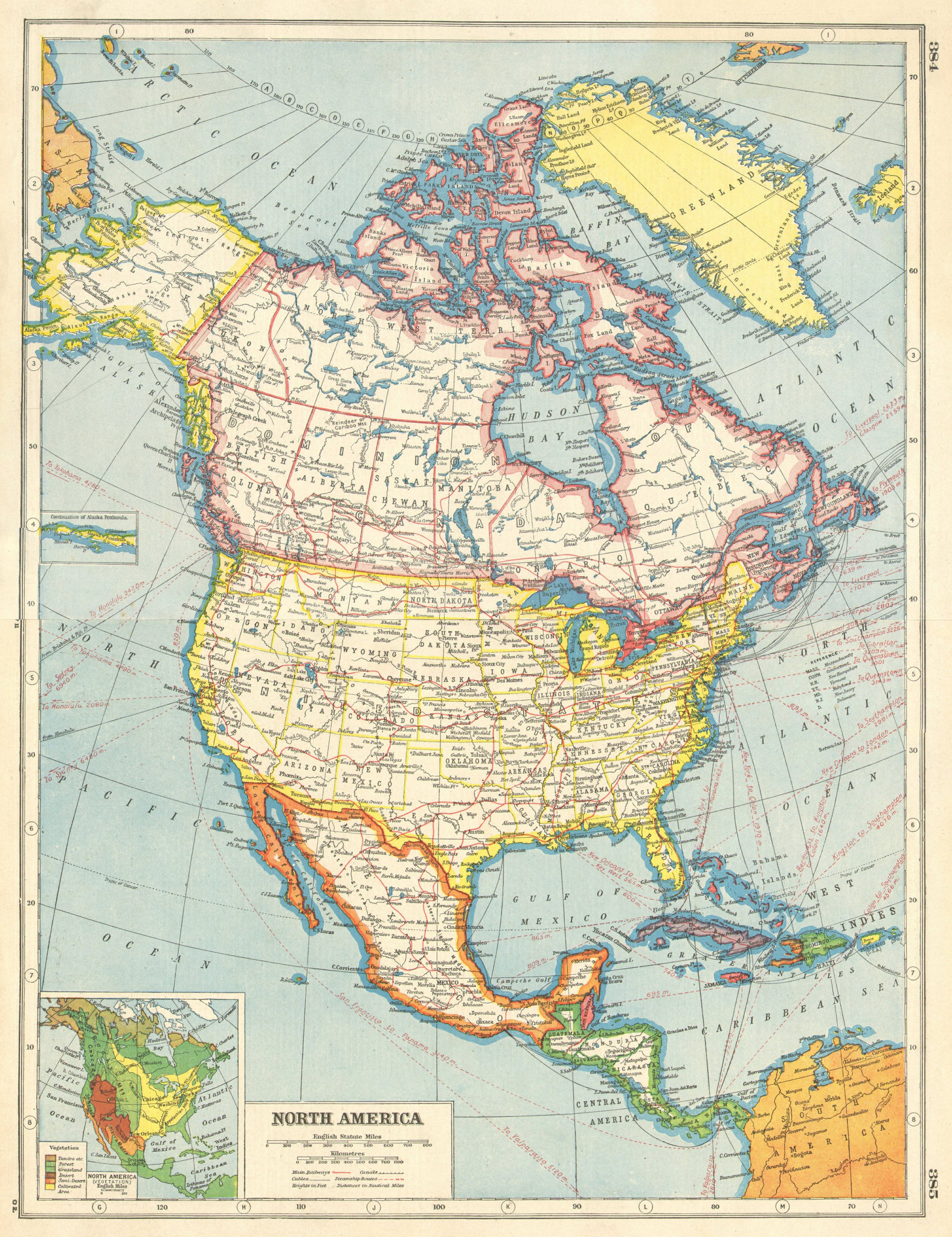 Associate Product NORTH AMERICA. Canada provinces. US states. Mexico. Inset Vegetation 1920 map