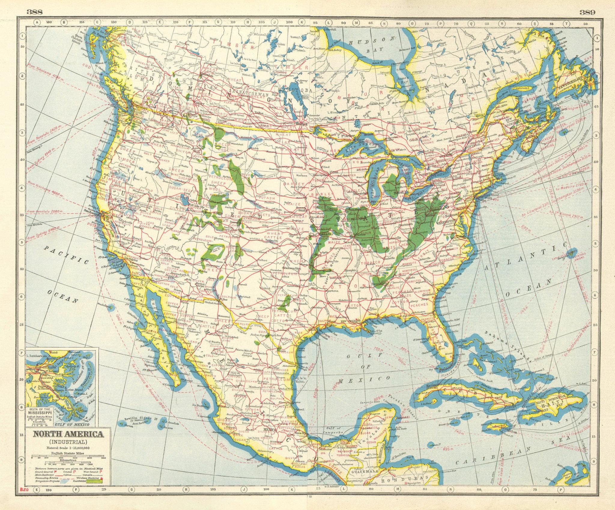 Associate Product NORTH AMERICA INDUSTRIES. USA Canada. Coalfields Irrigation Railroads 1920 map