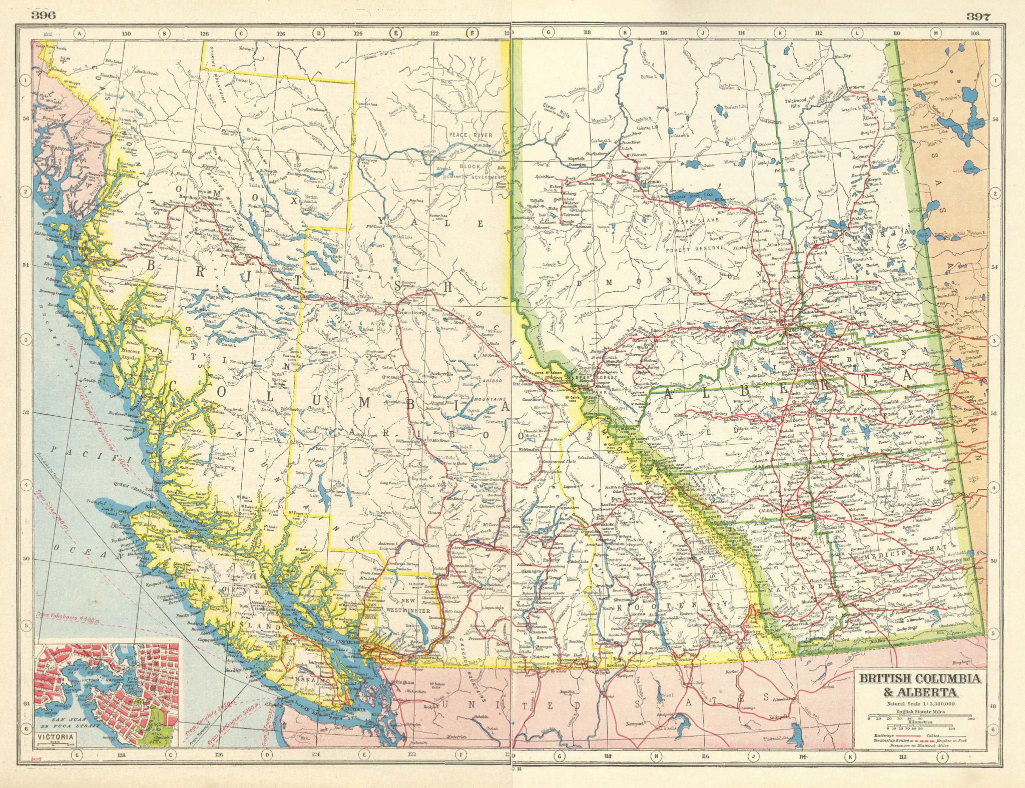 Associate Product CANADA WEST. British Columbia & Alberta. Victoria plan. Railways 1920 old map