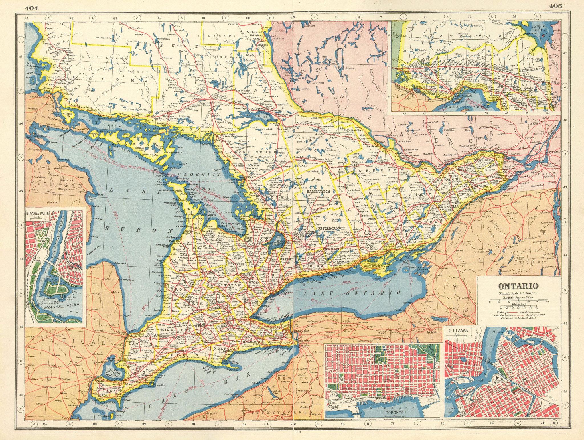 Associate Product ONTARIO. Niagara Falls Toronto Ottawa plans.Railroads.Steamship routes 1920 map