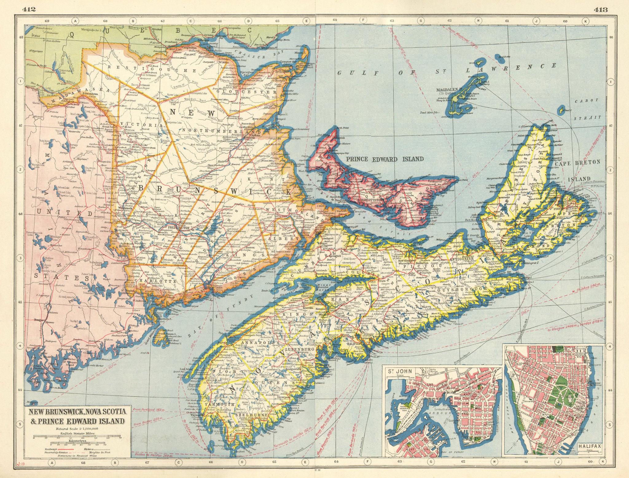 Associate Product CANADA MARITIME PROVINCES.New Brunswick Nova Scotia PE.St John Halifax 1920 map