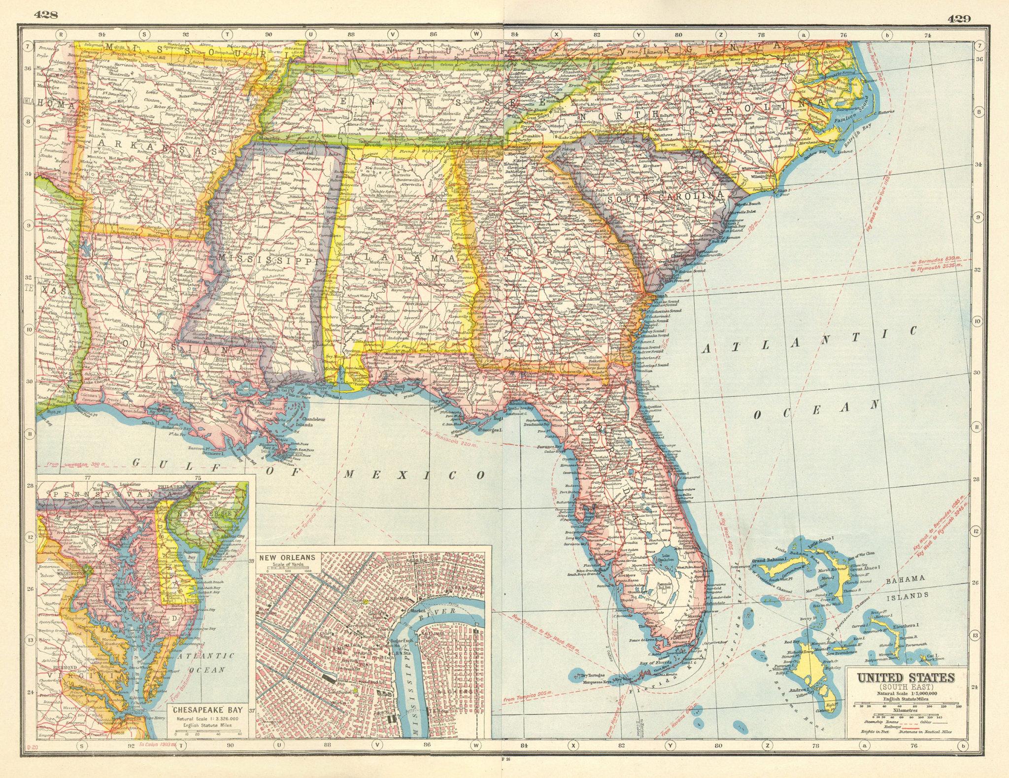 Associate Product USA DEEP SOUTH. LA AR MS AL TN FL GE SC NC. New Orleans. United States 1920 map