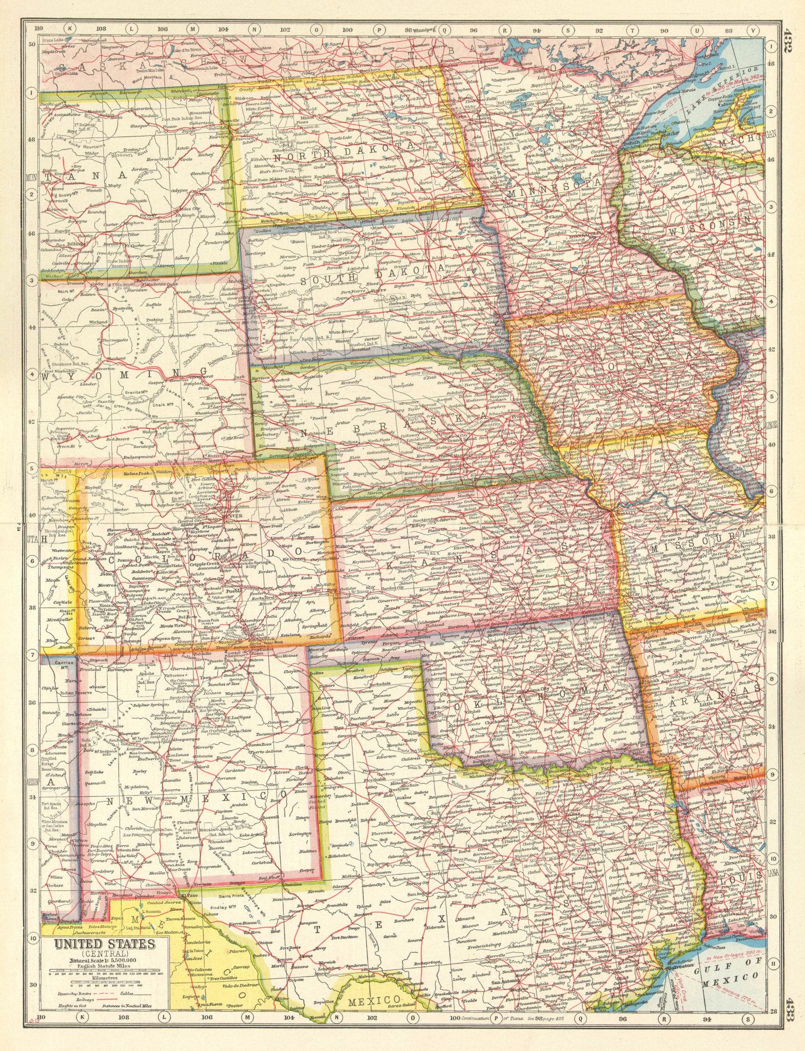 Associate Product USA PLAINS STATES. ND SD NE MN IA NM OK Texas.United States.HARMSWORTH 1920 map