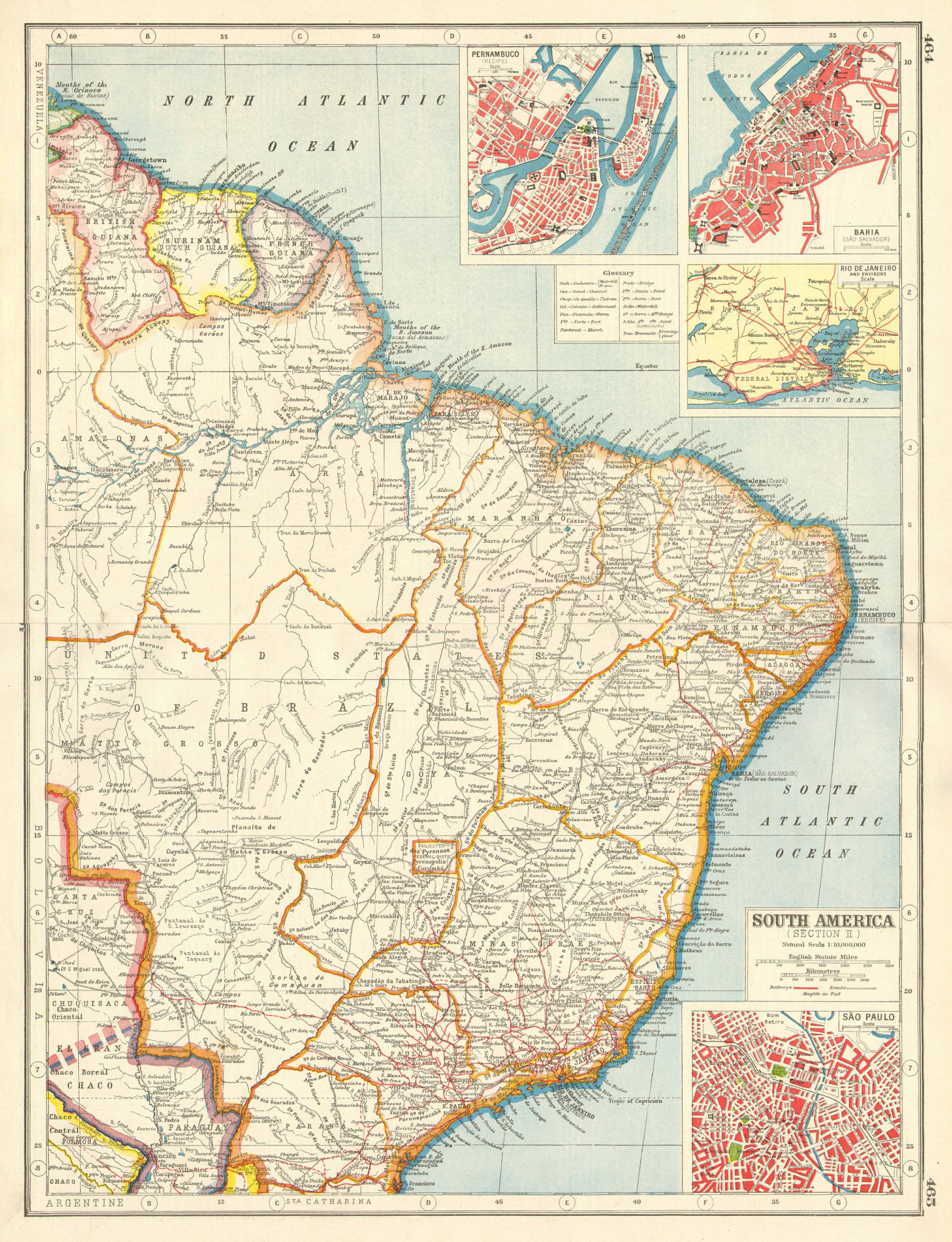 "Associate Product BRAZIL. ""Projected Federal District"" Pernambuco Bahia Rio Sao Paulo 1920 map"