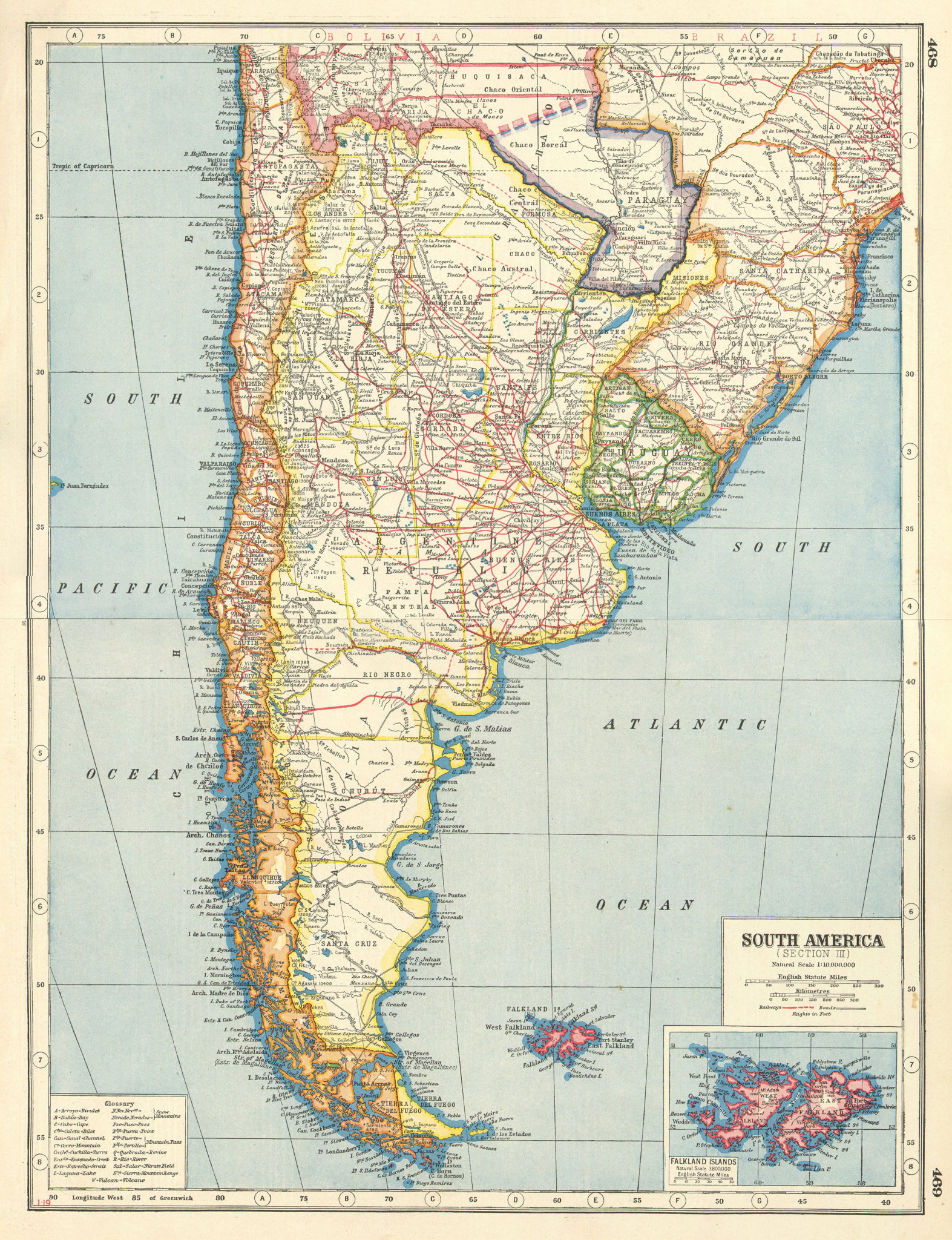 Associate Product S AMERICA. Bolivia-Paraguay Gran Chaco border dispute. Chile Argentina 1920 map