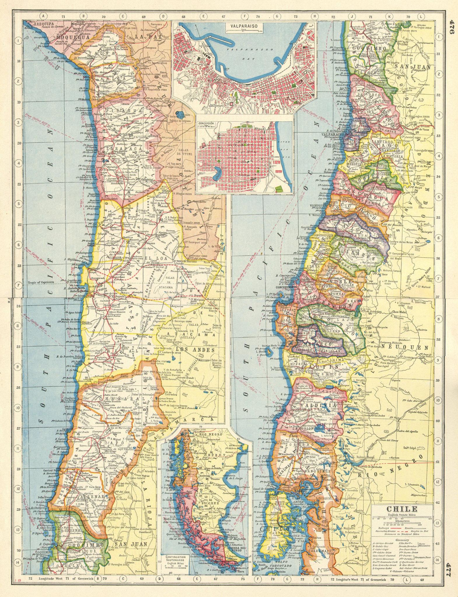 Associate Product CHILE. Regions provinces steamship routes. Valparaiso Concepcion plans 1920 map