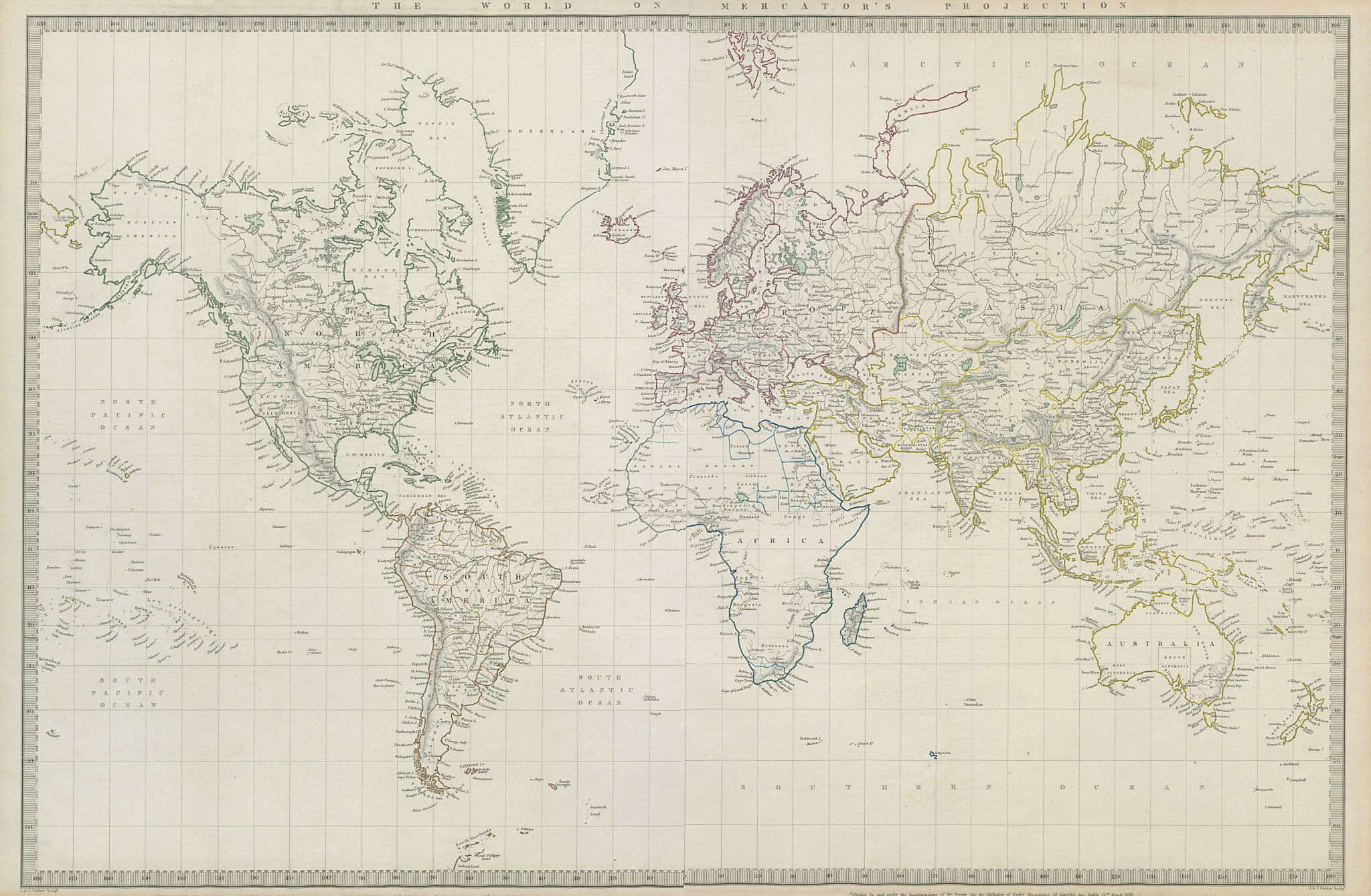 Associate Product WORLD ON MERCATOR'S PROJECTION. Pre-Mexican-American war. SDUK 1844 old map
