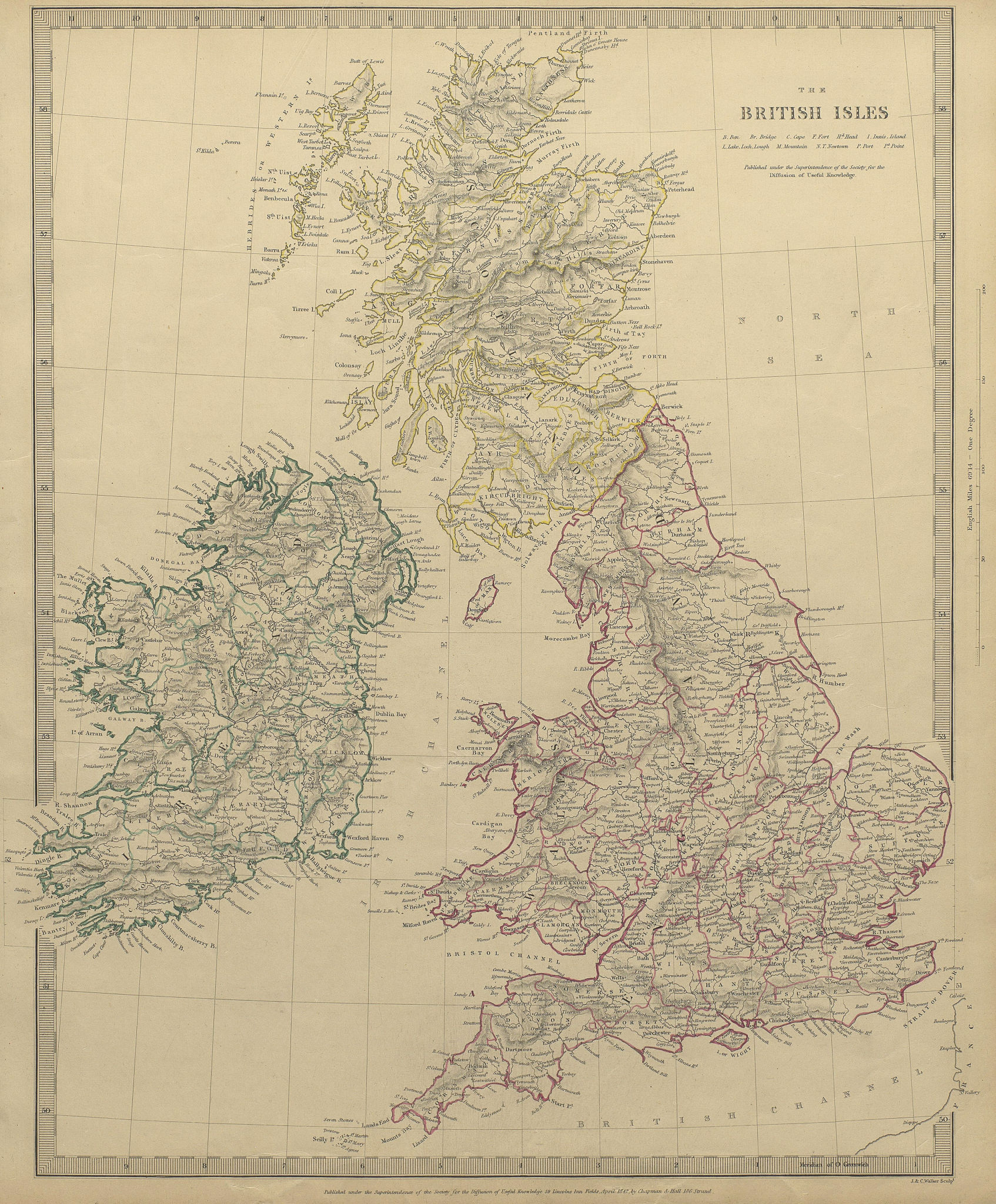 Associate Product BRITISH ISLES. United Kingdom & Ireland. Counties towns rivers. SDUK 1844 map