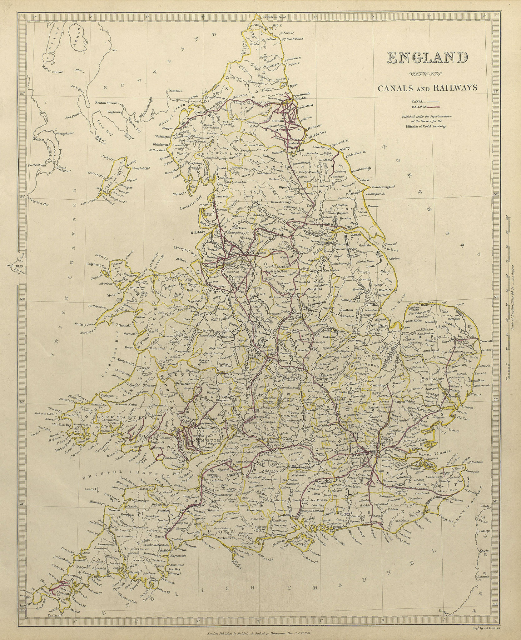 Associate Product ENGLAND AND WALES. Canals and Railways. SDUK 1844 old antique map plan chart