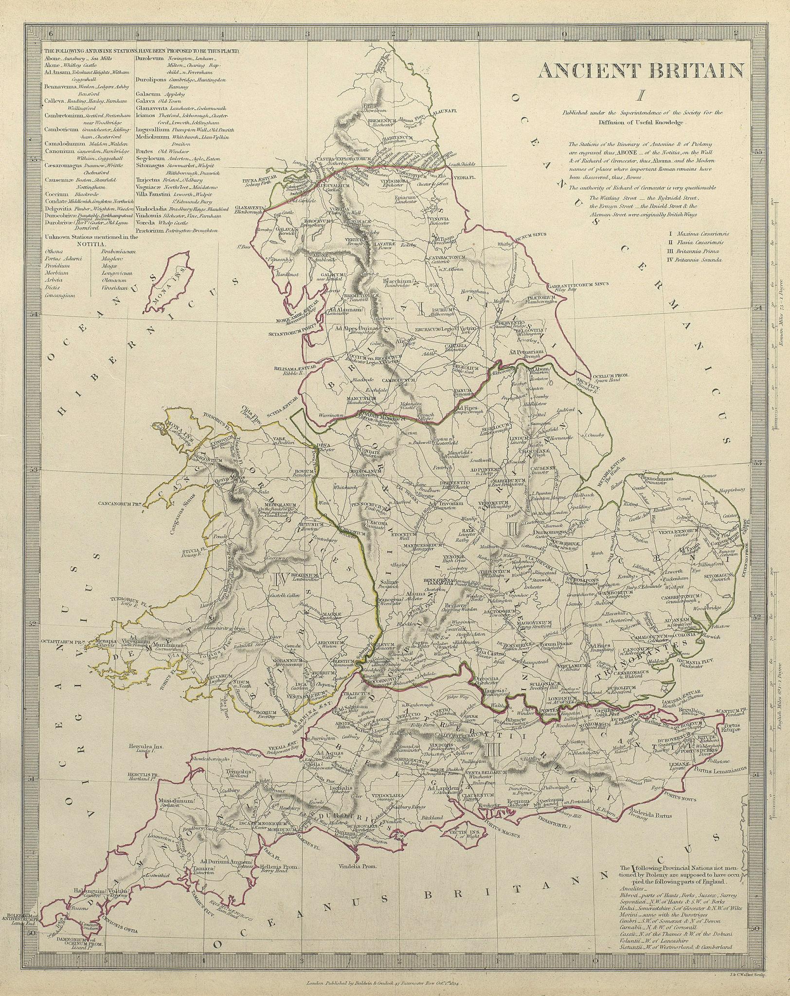 Associate Product ANCIENT BRITAIN. England & Wales. Roman road town names. Ptolemy SDUK 1844 map