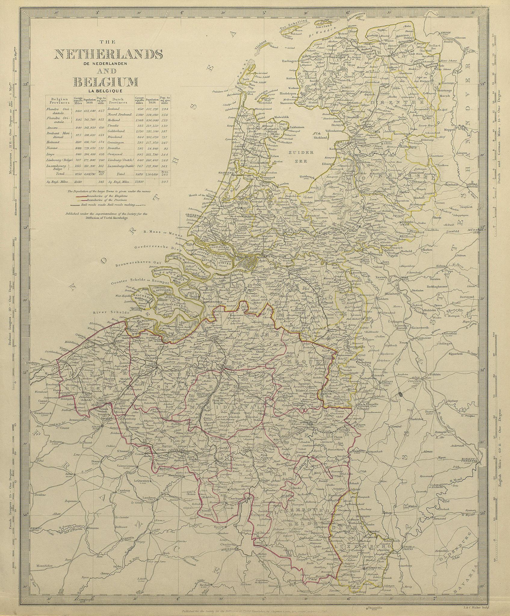 Associate Product NETHERLANDS & BELGIUM w/ railways in use & under construction. SDUK 1844 map