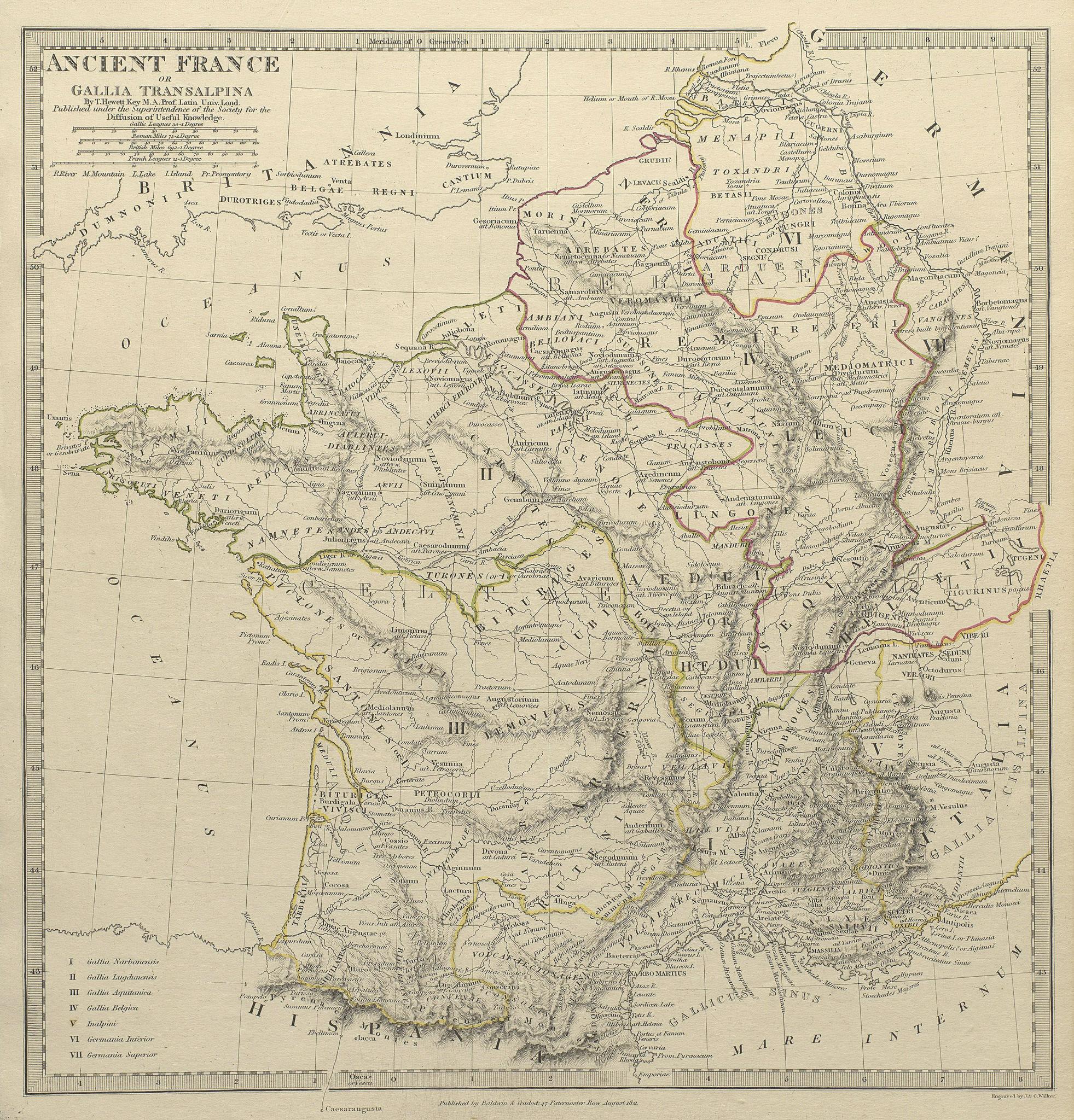 Associate Product ANCIENT ROMAN FRANCE GAUL. Gallia Transalpina. Roman names roads.SDUK 1844 map