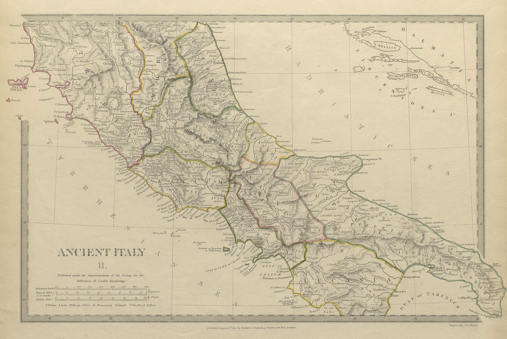 Associate Product ANCIENT ITALY.South.Apulia Latium Sabini Samnium Picenum Etruria.SDUK 1844 map