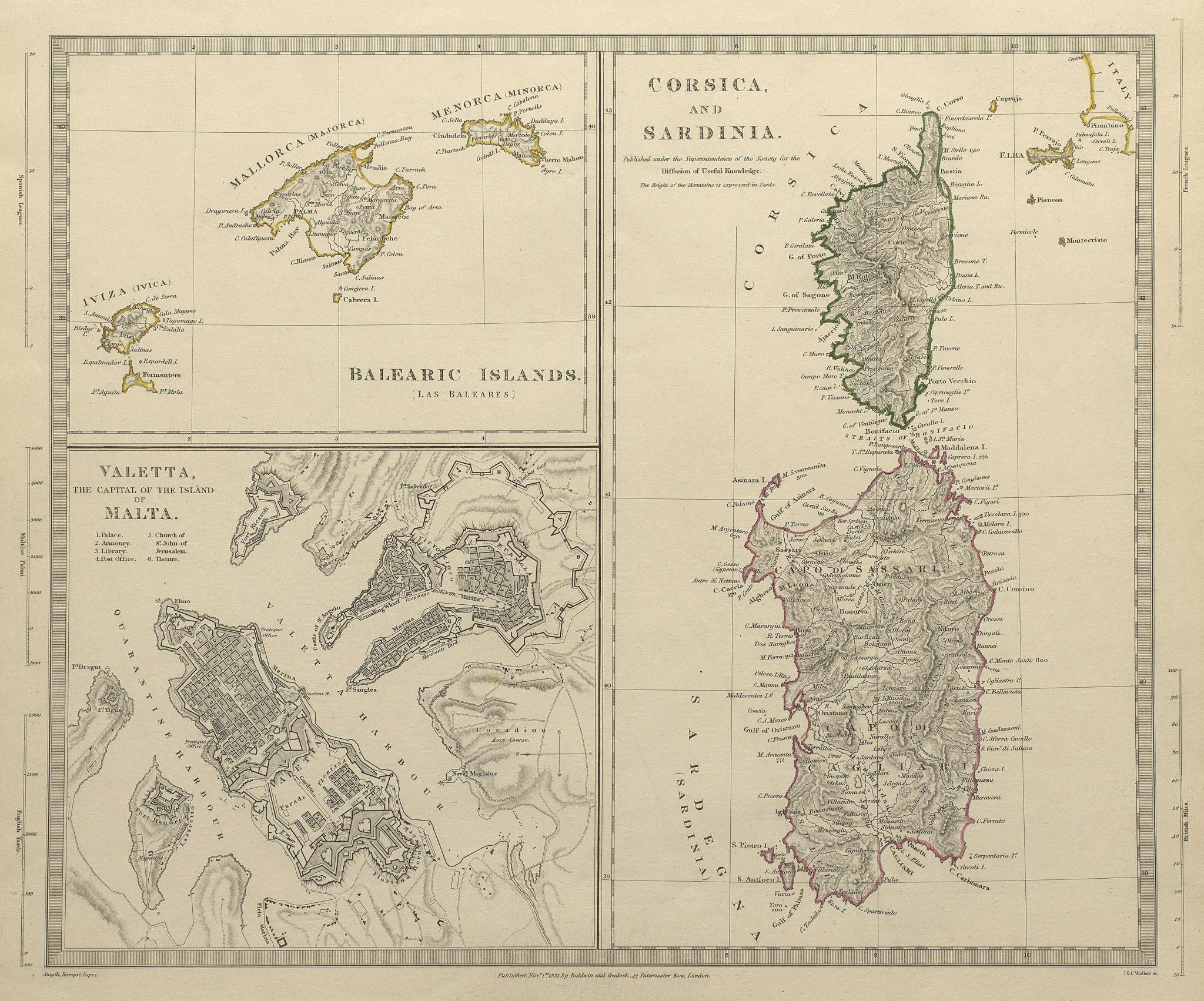 Associate Product MEDITERRANEAN.Corsica Sardinia;Balearics Baleares;Valletta,Malta.SDUK 1844 map