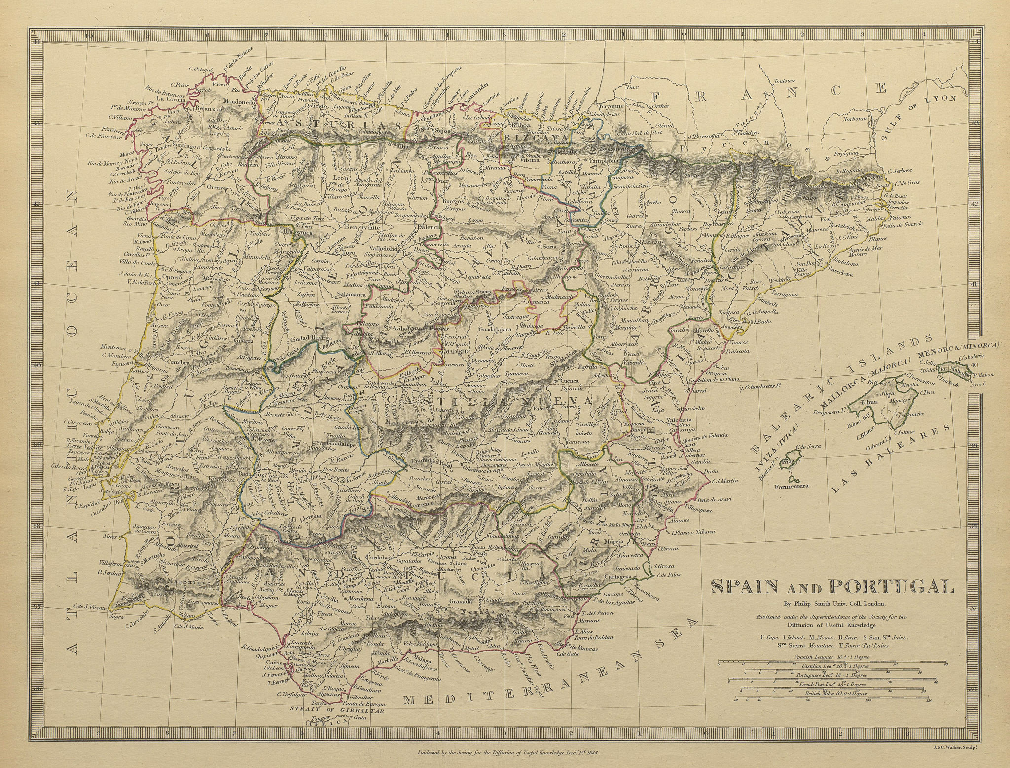 Associate Product IBERIA. Spain and Portugal showing provinces. SDUK 1844 old antique map chart