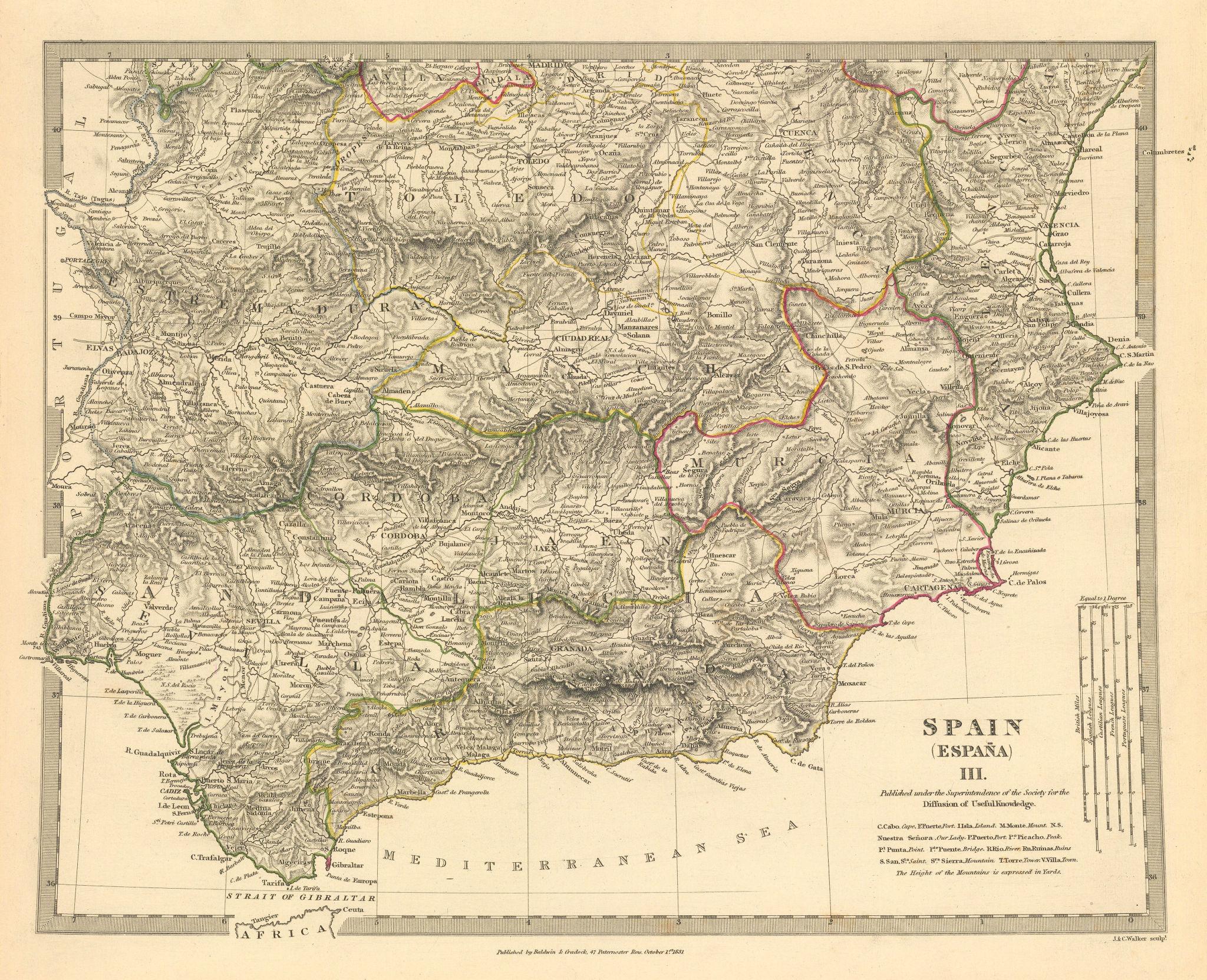 Associate Product SPAIN SOUTH.Sevilla Granada Cordoba Jaen Murcia Valencia Toledo.SDUK 1844 map