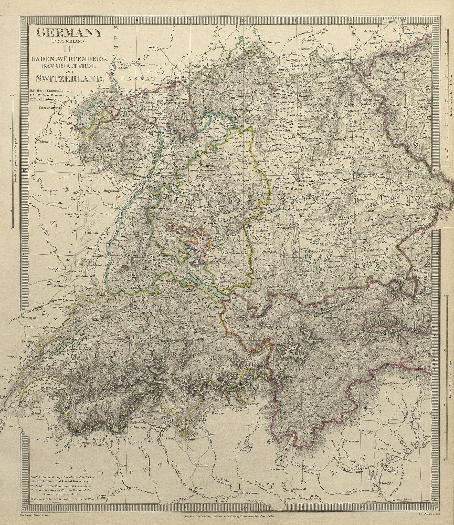 Associate Product GERMANY SWITZERLAND AUSTRIA. Baden, Württemberg, Bavaria, Tyrol. SDUK 1844 map