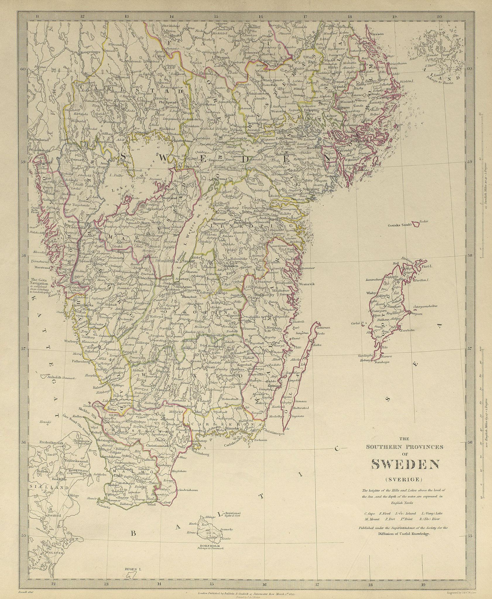 Associate Product SWEDEN. the Southern Provinces of Sweden (Sverige) . SDUK 1844 old antique map