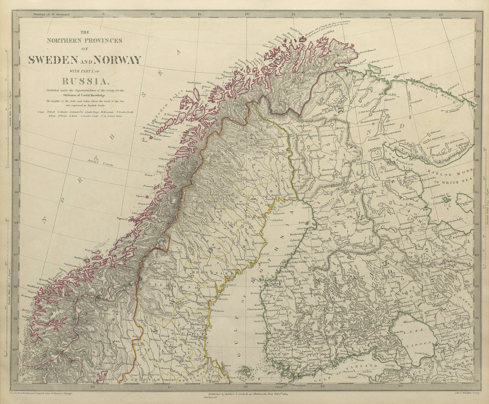 Associate Product SCANDINAVIA.Northern Sweden and Norway. Finland & part of Russia.SDUK 1844 map