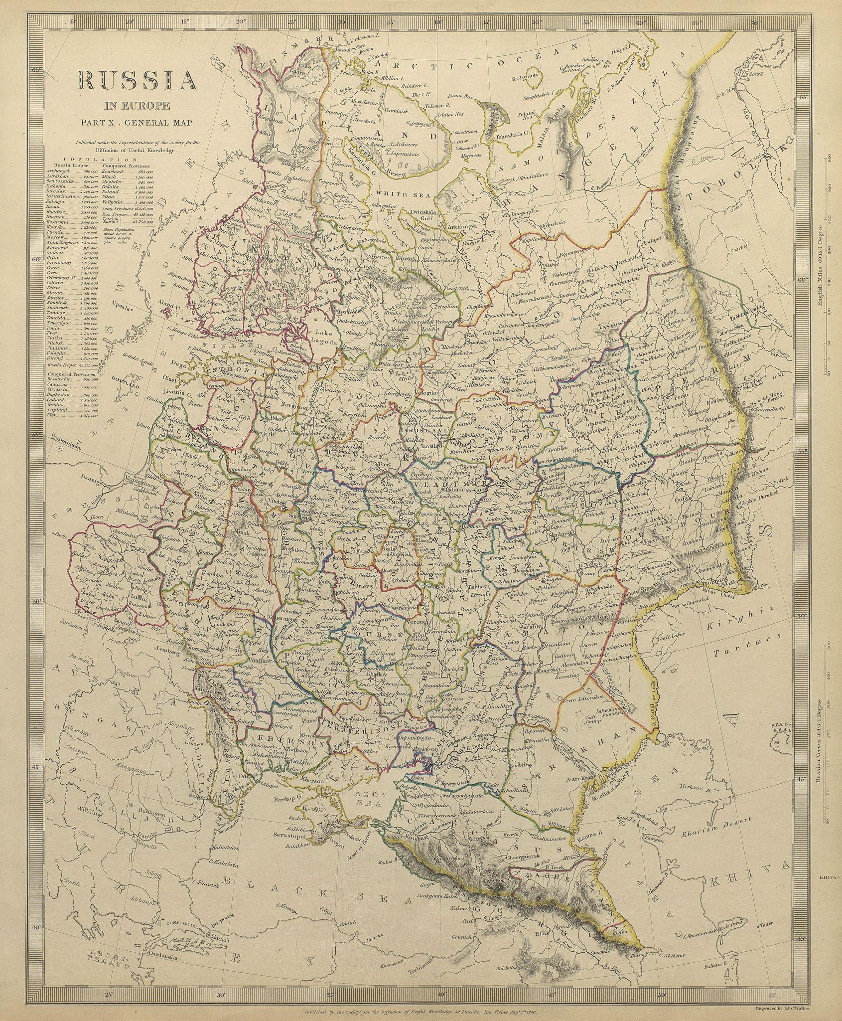 Associate Product RUSSIA. Eastern Europe. Ukraine Belarus Baltics Finland Georgia. SDUK 1844 map