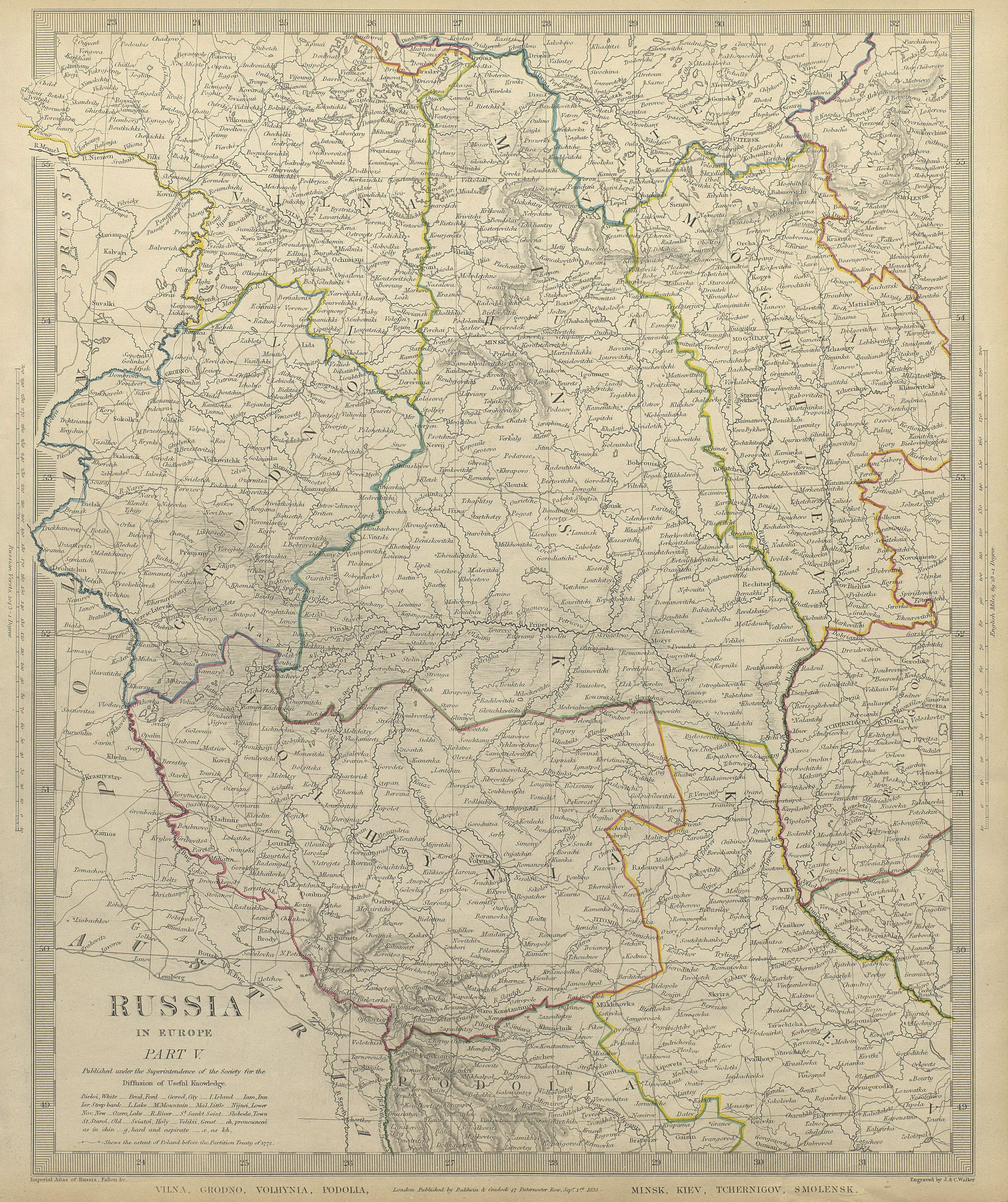 Associate Product EASTERN EUROPE.Vilna Grodno Volhynia Podoiva Minsk Kiev Smolensk.SDUK 1844 map