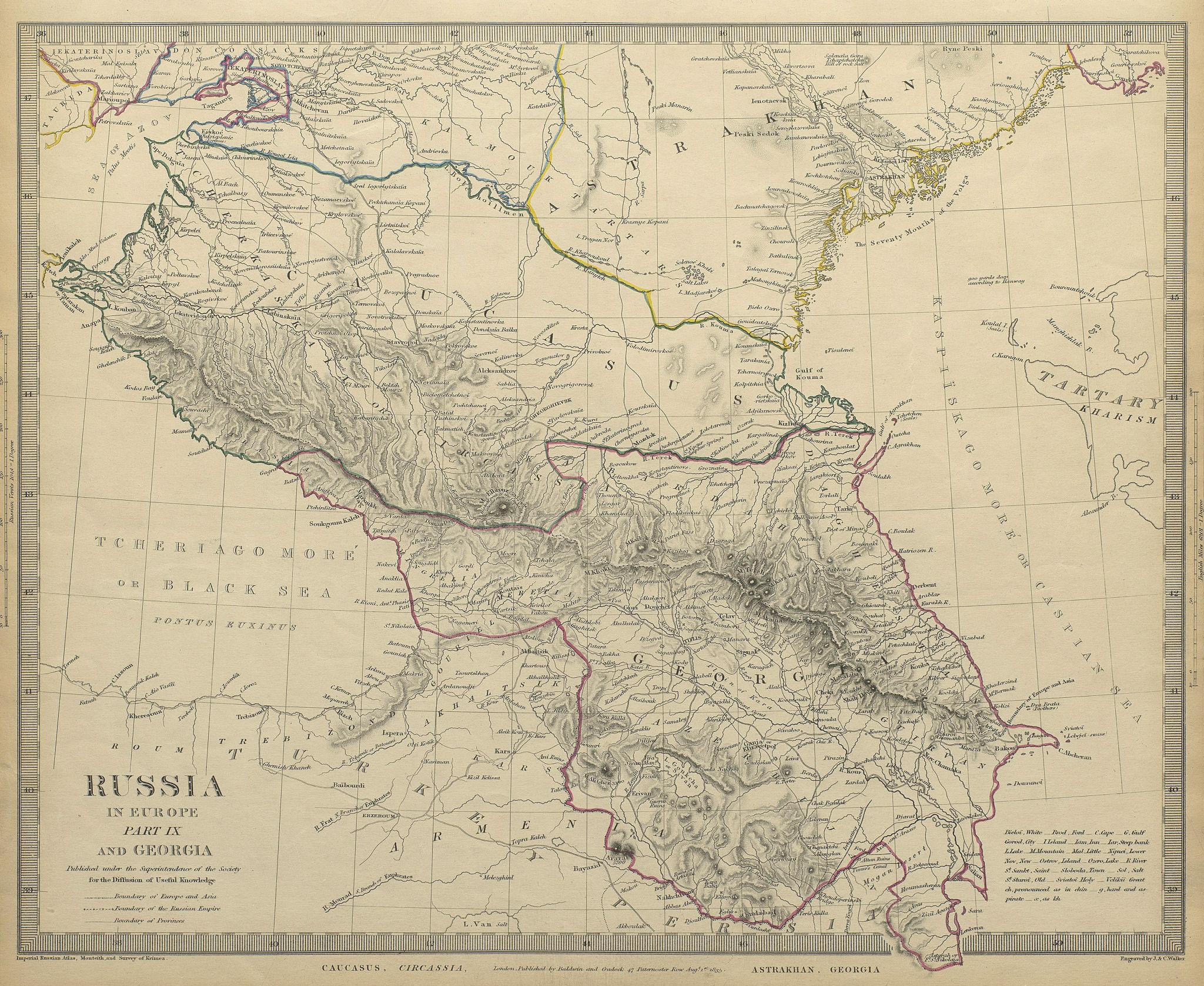 Associate Product CAUCASUS. Russia Circassia Astrakhan Georgia Azerbaijan. SDUK 1844 old map