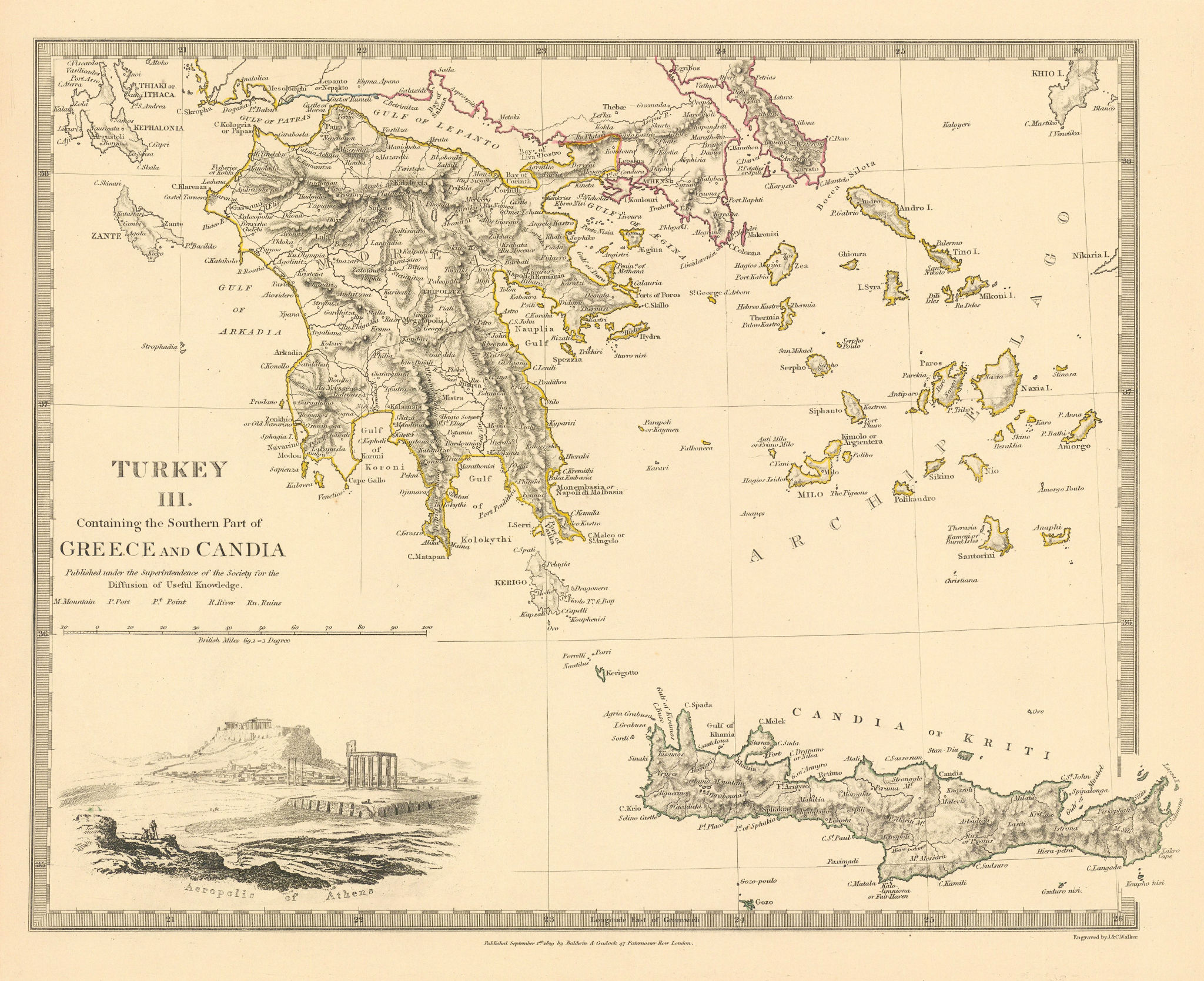 Associate Product GREECE.Crete Morea Aegean Ionian Cyclades Zakynthos Peloponnese.SDUK 1844 map