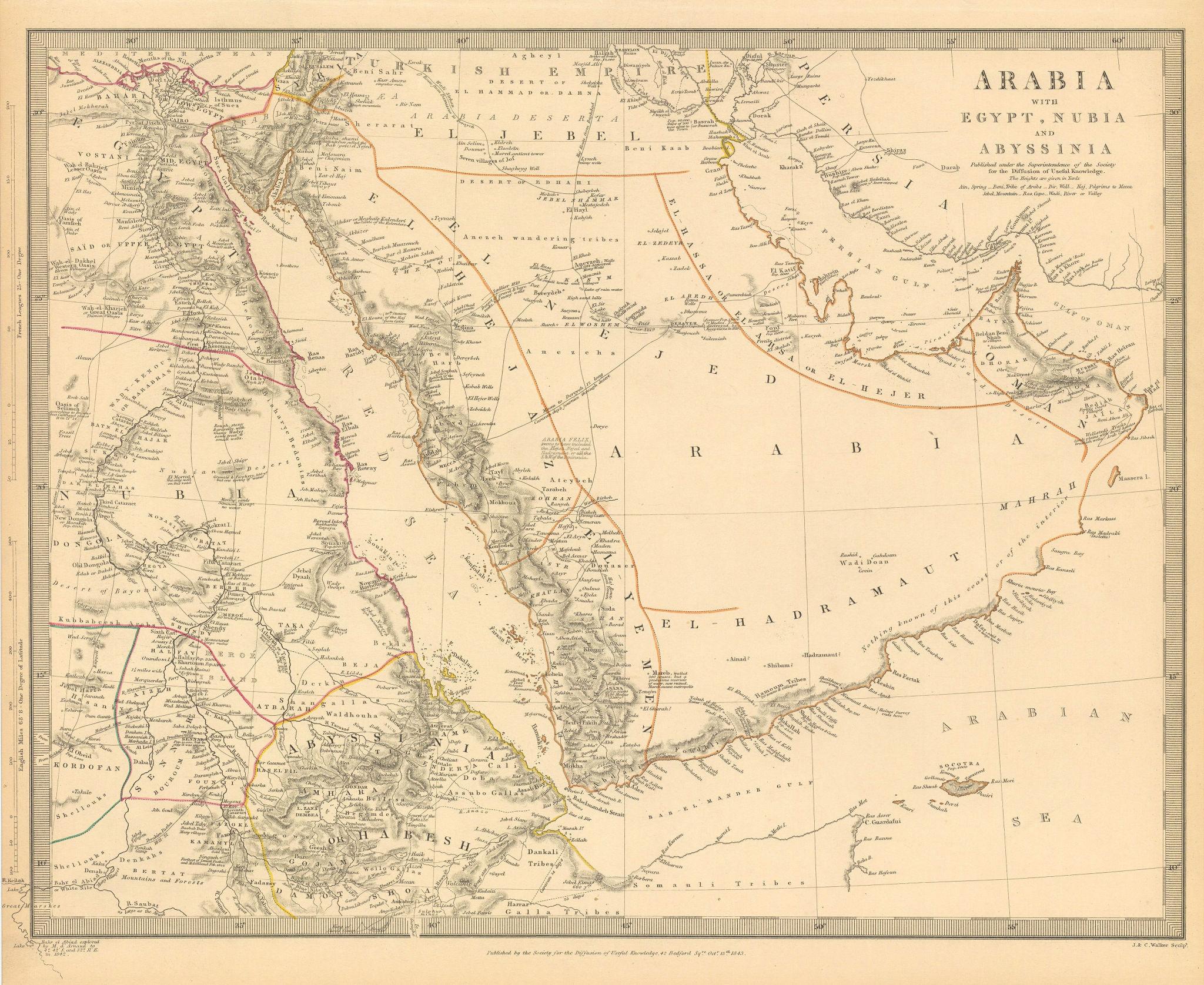 Associate Product ARABIA.Egypt,Nubia,Abyssinia.Persian Gulf;Red Sea.Eritrea Oman.SDUK 1844 map