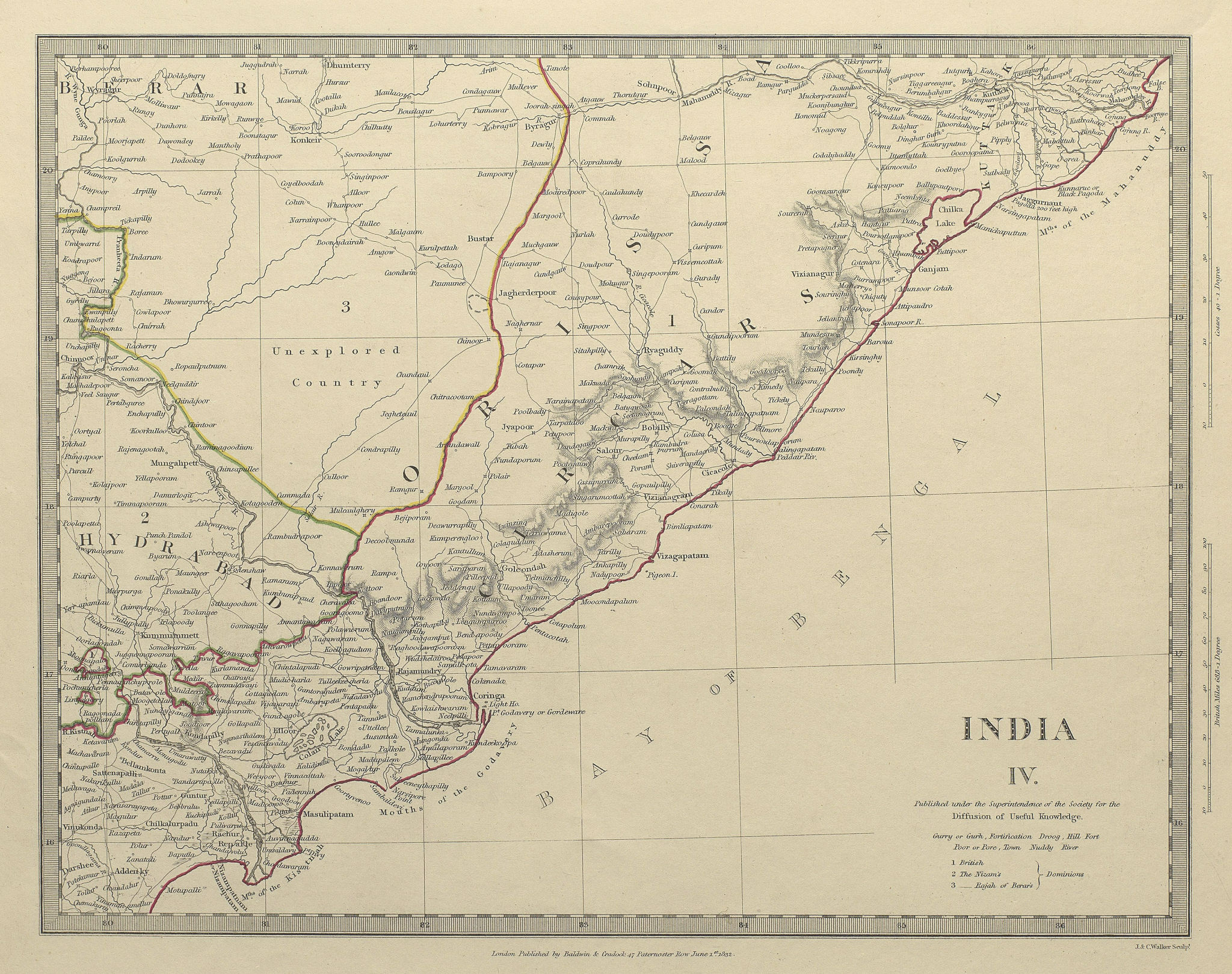 Associate Product INDIA. Cicars; Mouths of the Godavery. Berar; Hyderabad. Orissa. SDUK 1844 map