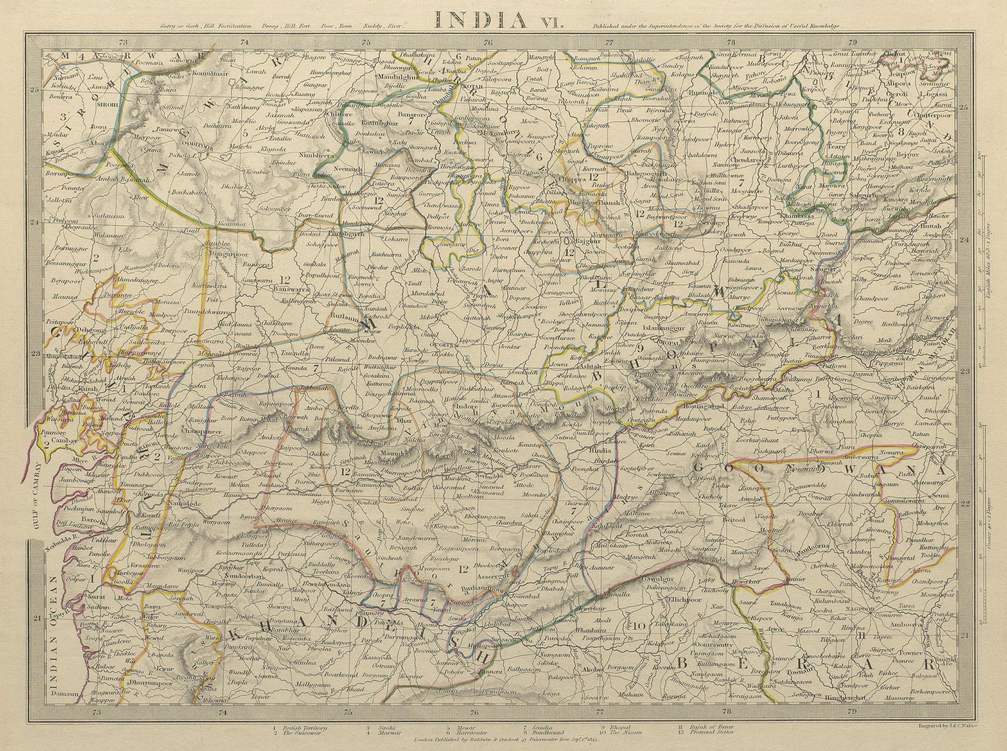 Associate Product INDIA.Bundelkhand to Khandeish Berar.Gujerat. Goondwana Bhopal.SDUK 1844 map