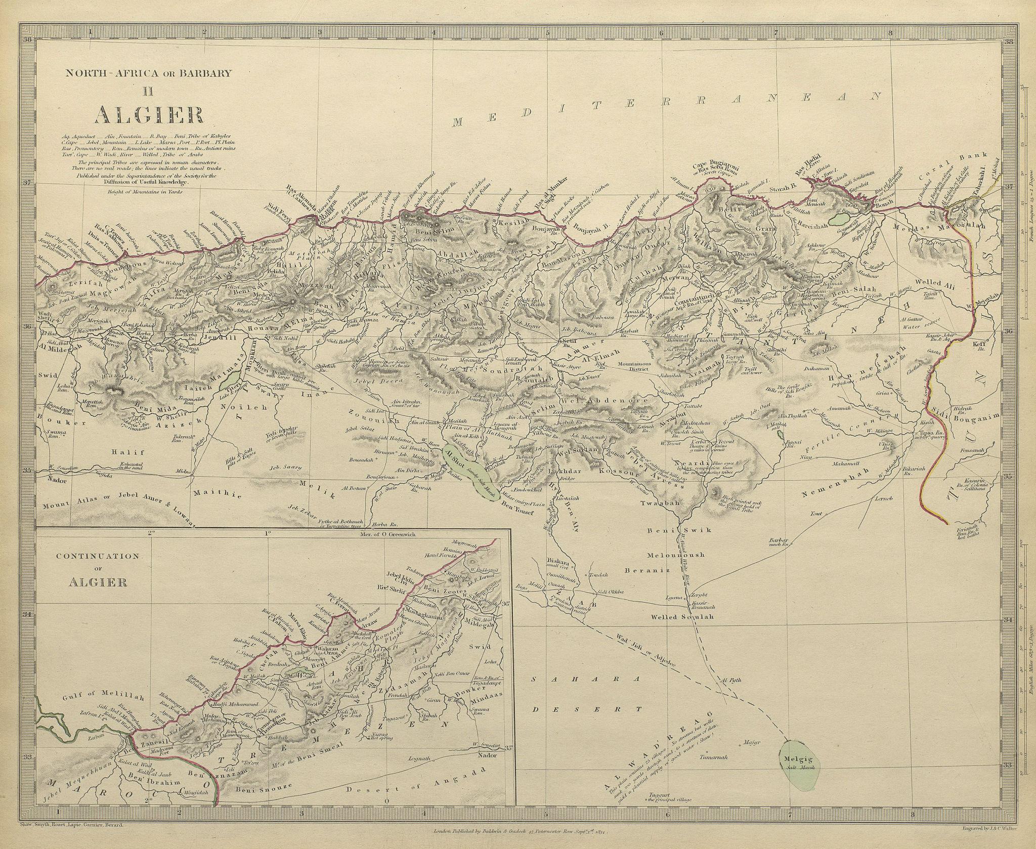 Associate Product ALGERIA. North Africa or Barbary. Algier Algiers. SDUK 1844 old antique map
