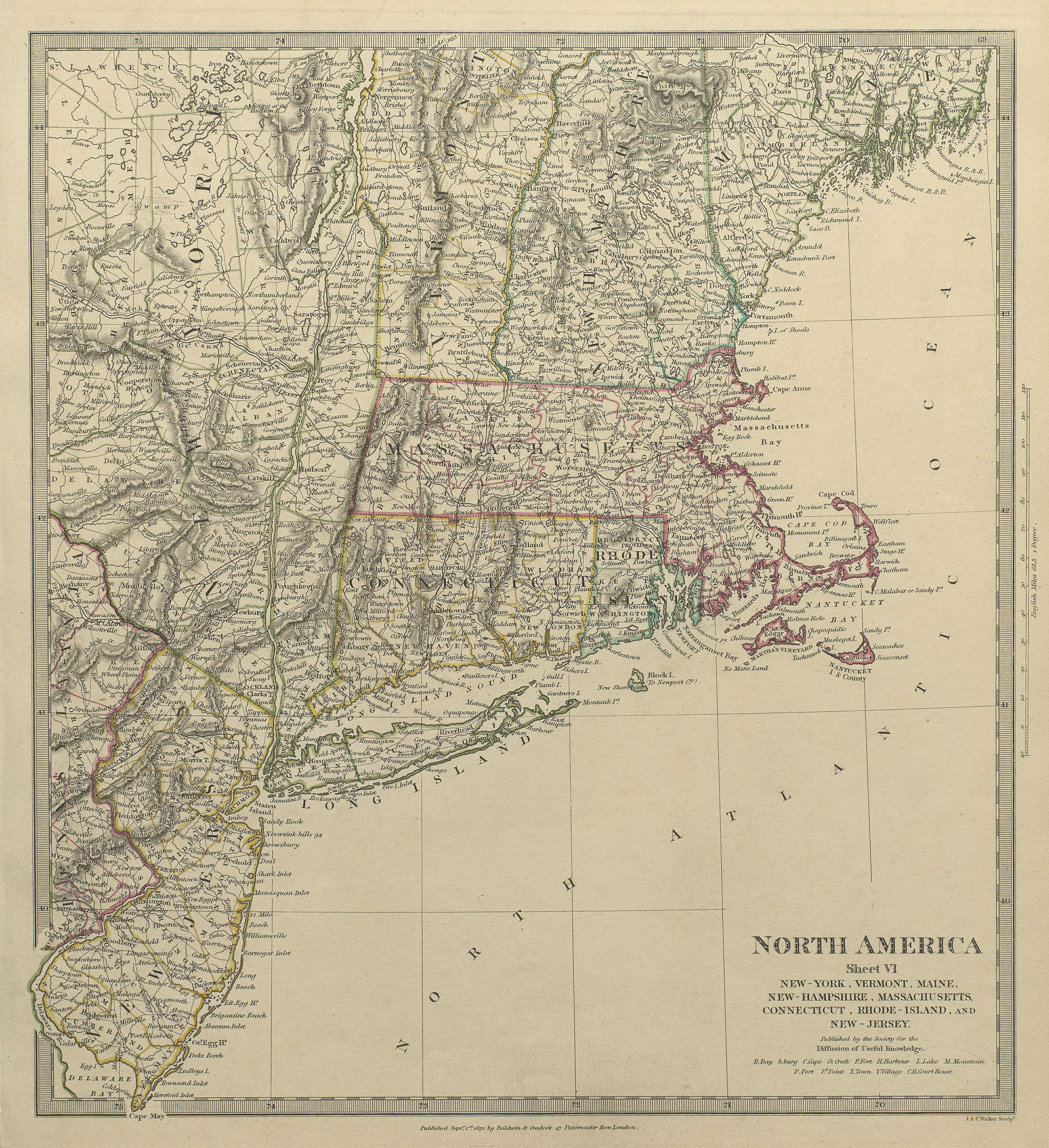 Associate Product USA.New York Maine Massachusetts Connecticut New Jersey NH RI VT.SDUK 1844 map