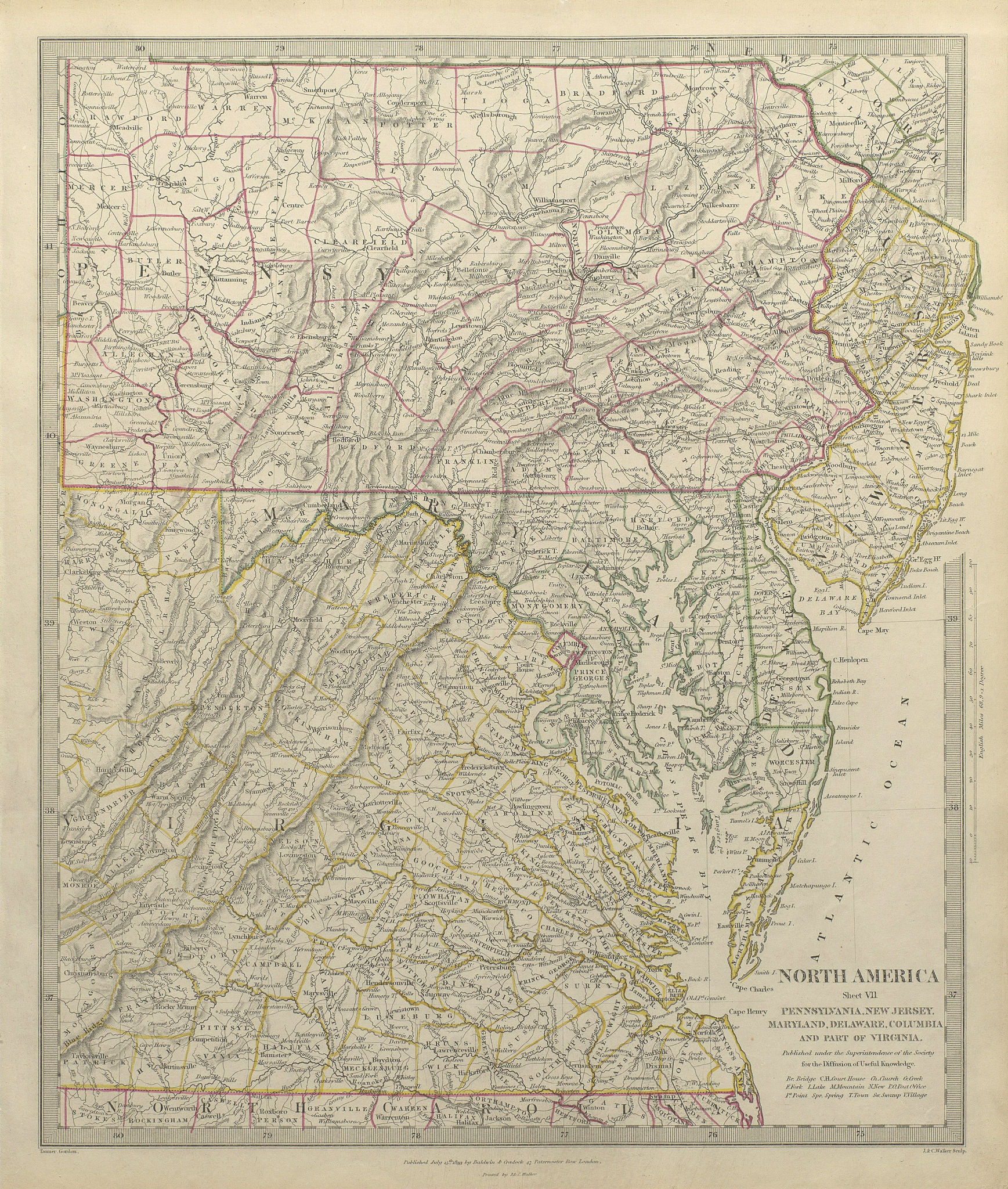 Associate Product USA. Pennsylvania New Jersey Maryland Delaware DC Virginia. SDUK 1844 old map