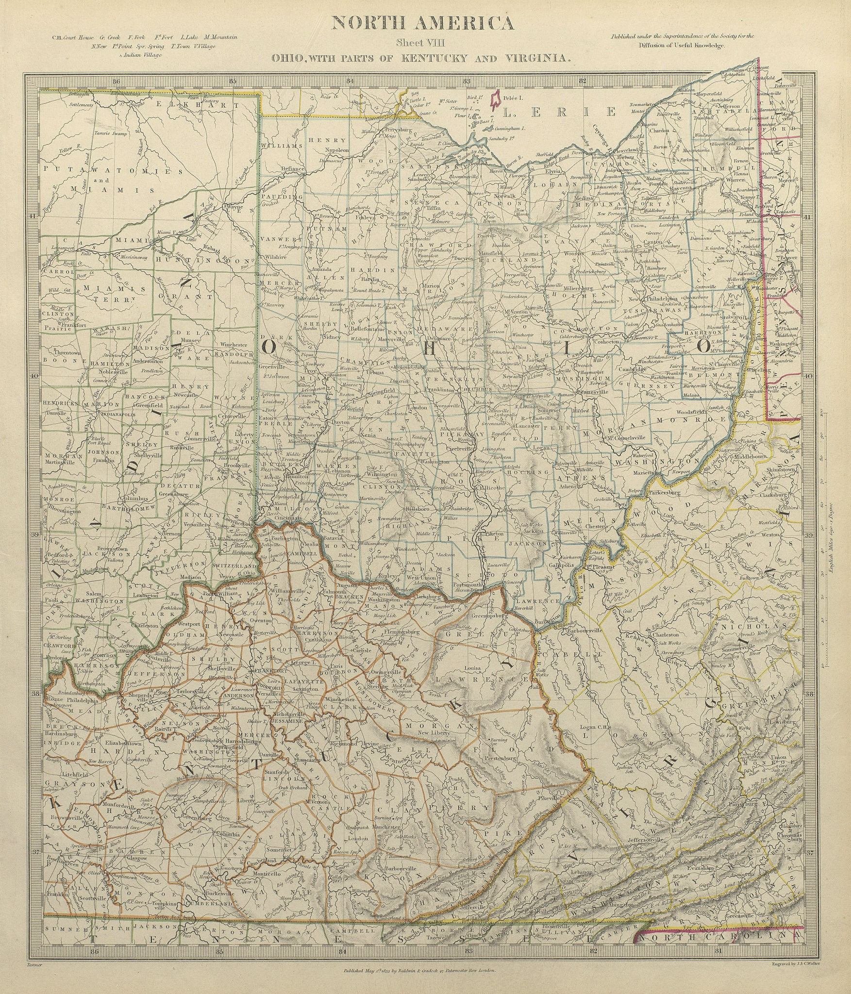 Associate Product USA. Ohio with parts of Kentucky, Virginia & Indiana. Counties. SDUK 1844 map