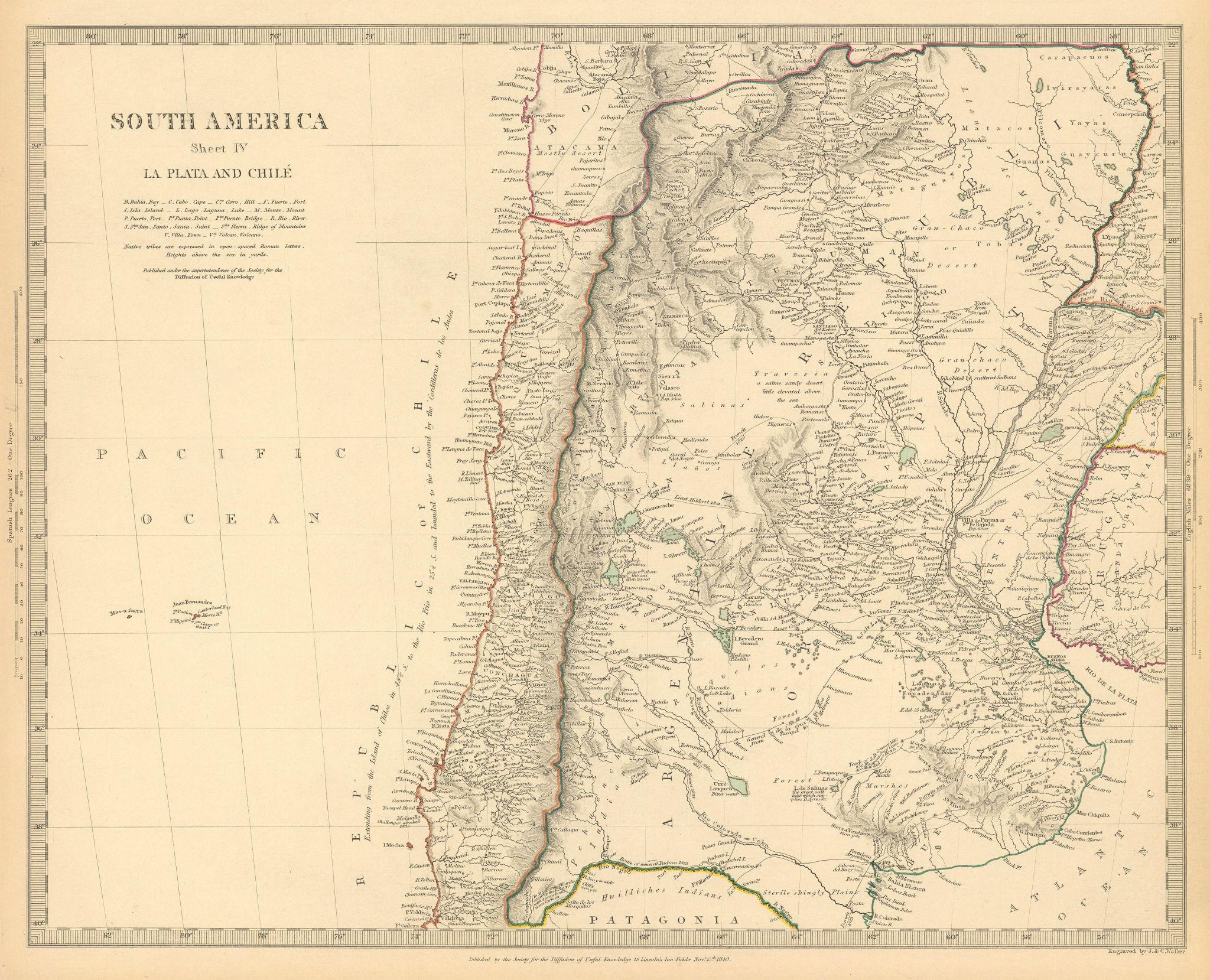 SOUTH AMERICA.La Plata and Chilé.Chile Argentina Uruguay Bolivia.SDUK 1844 map