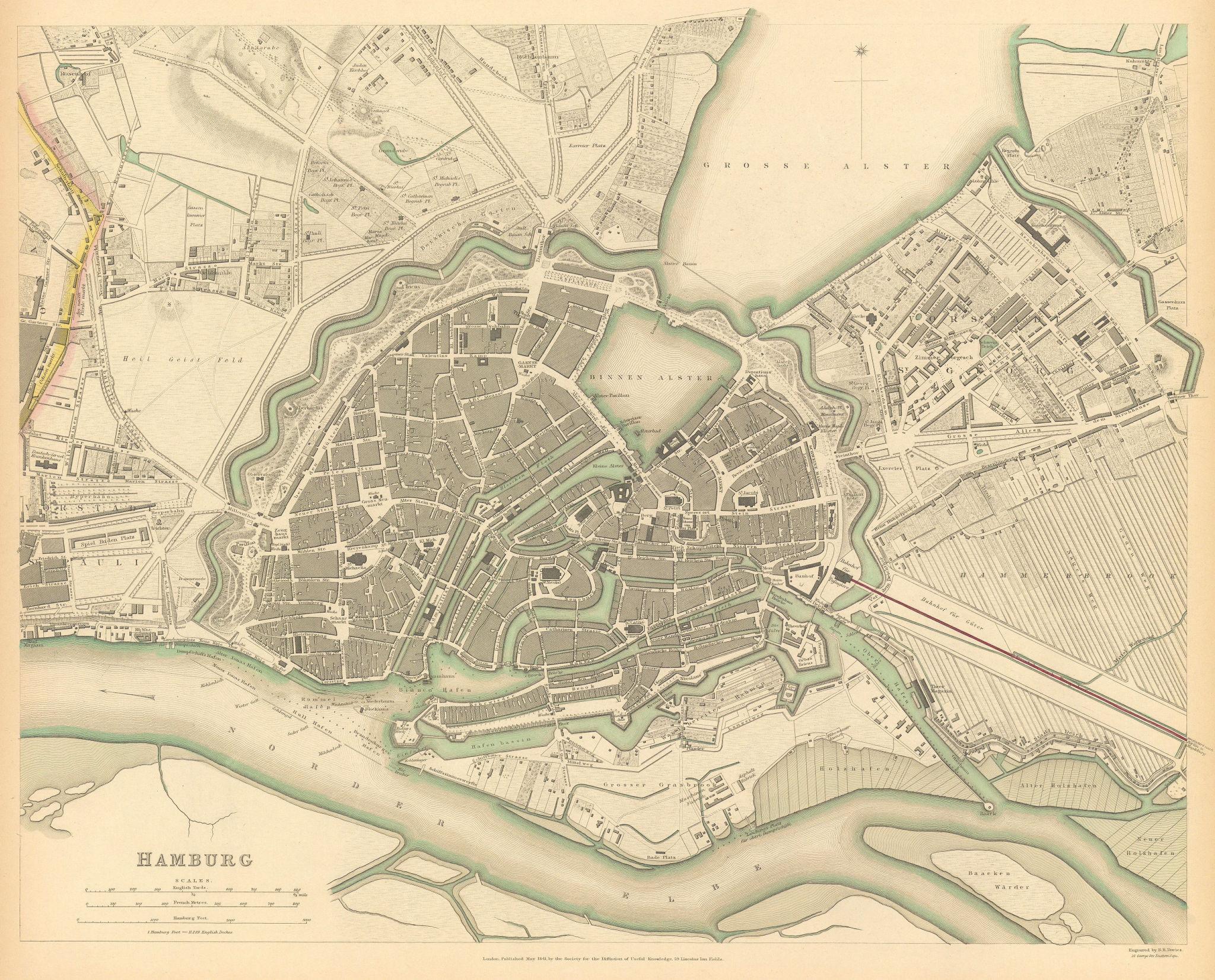 HAMBURG. Antique town city map plan. SDUK 1844 old chart