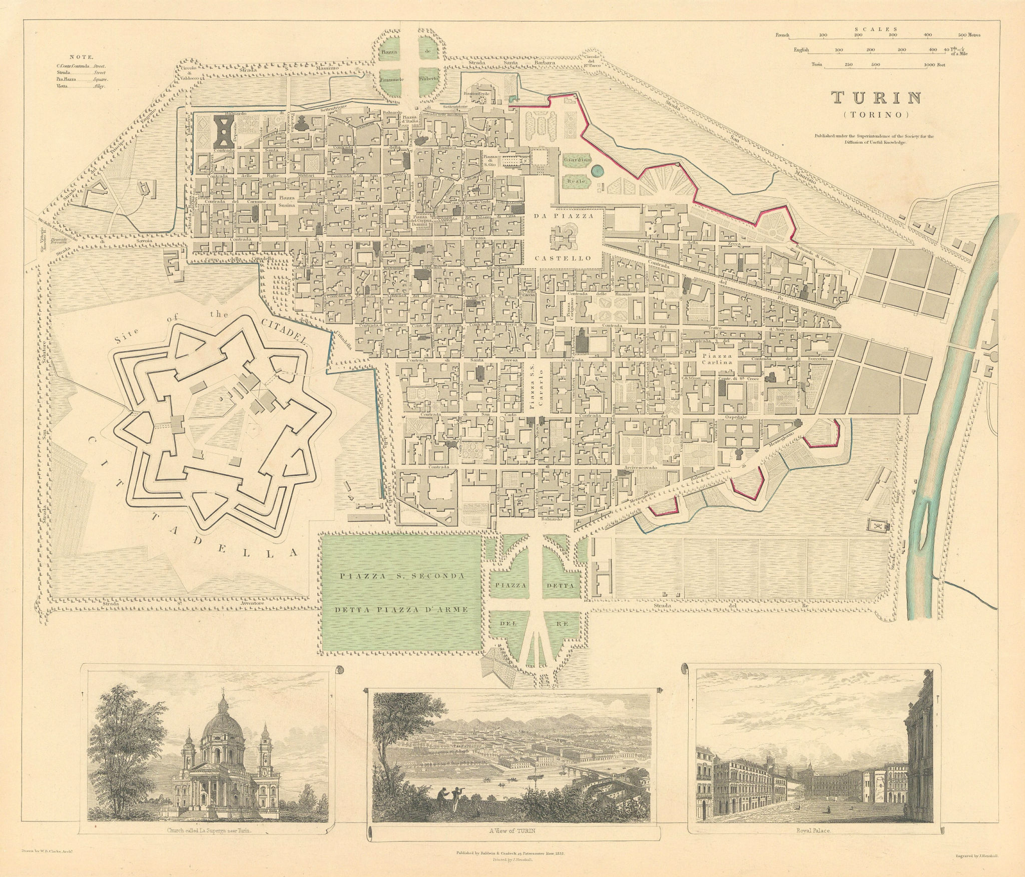 Associate Product TURIN TORINO.Antique town city map plan.Panorama.Superga.Royal Palace.SDUK 1844